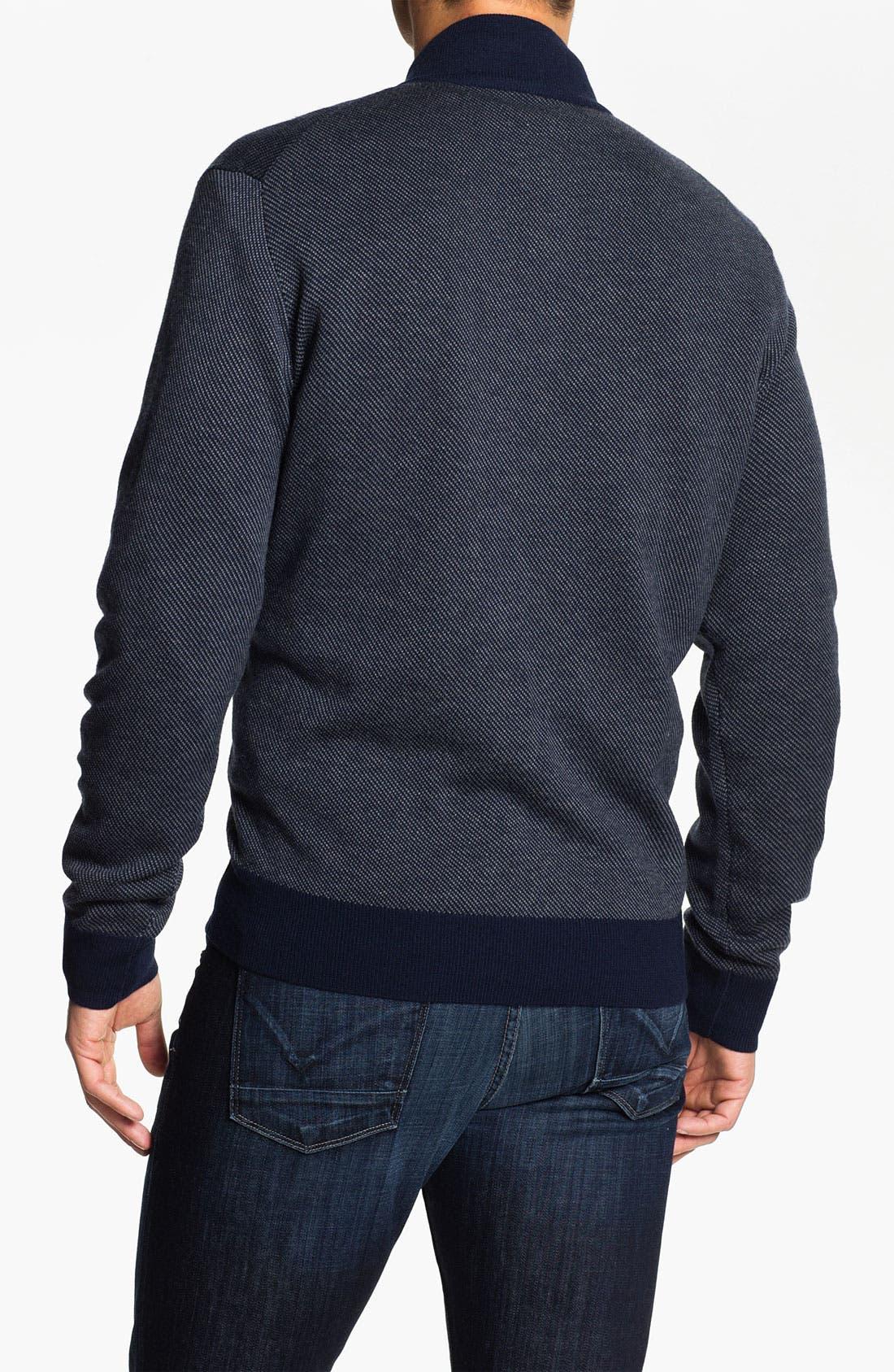 Merino Wool Blend Quarter Zip Sweater,                             Alternate thumbnail 3, color,                             400