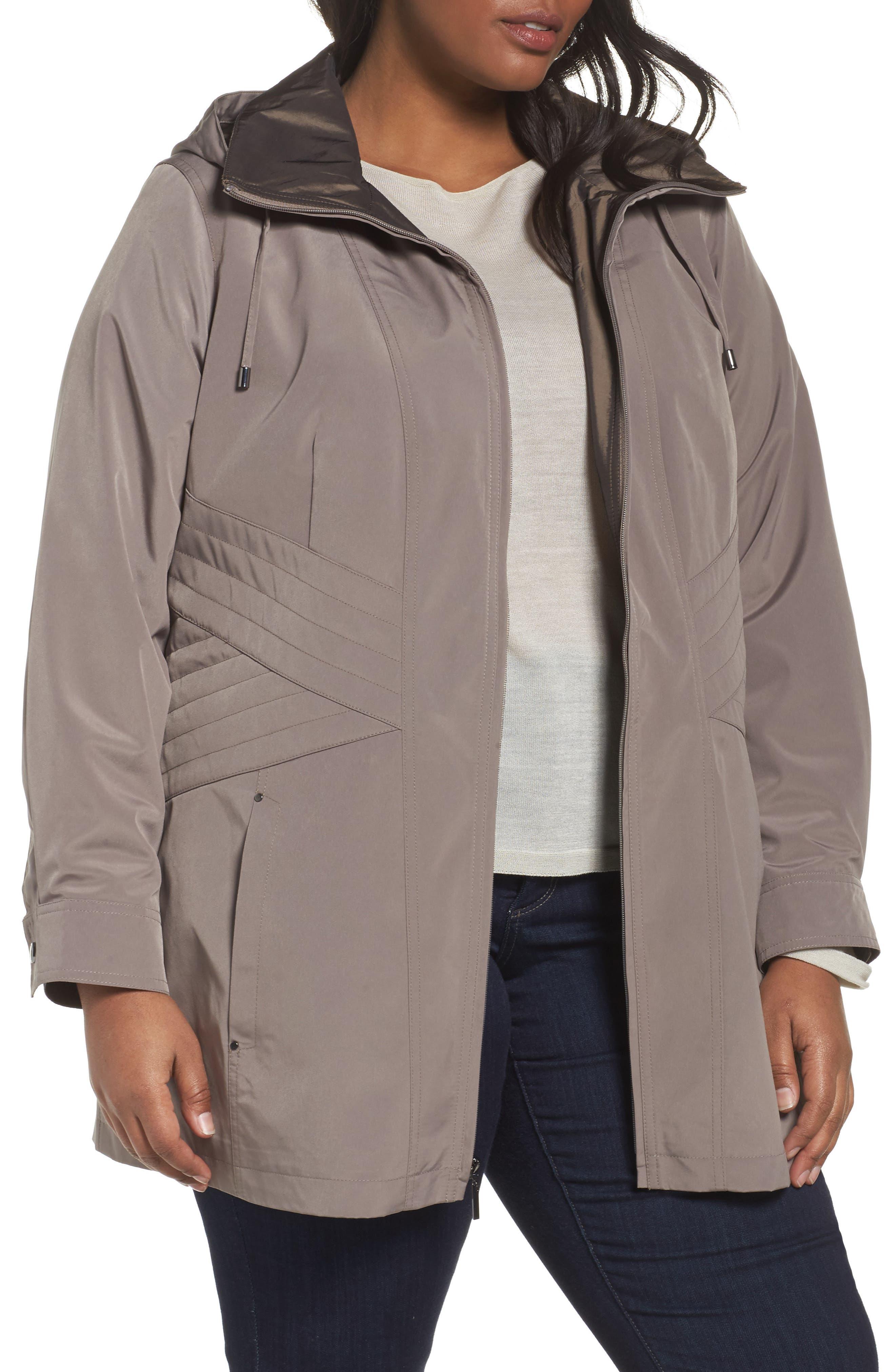 Two-Tone Long Silk Look Raincoat,                             Main thumbnail 2, color,