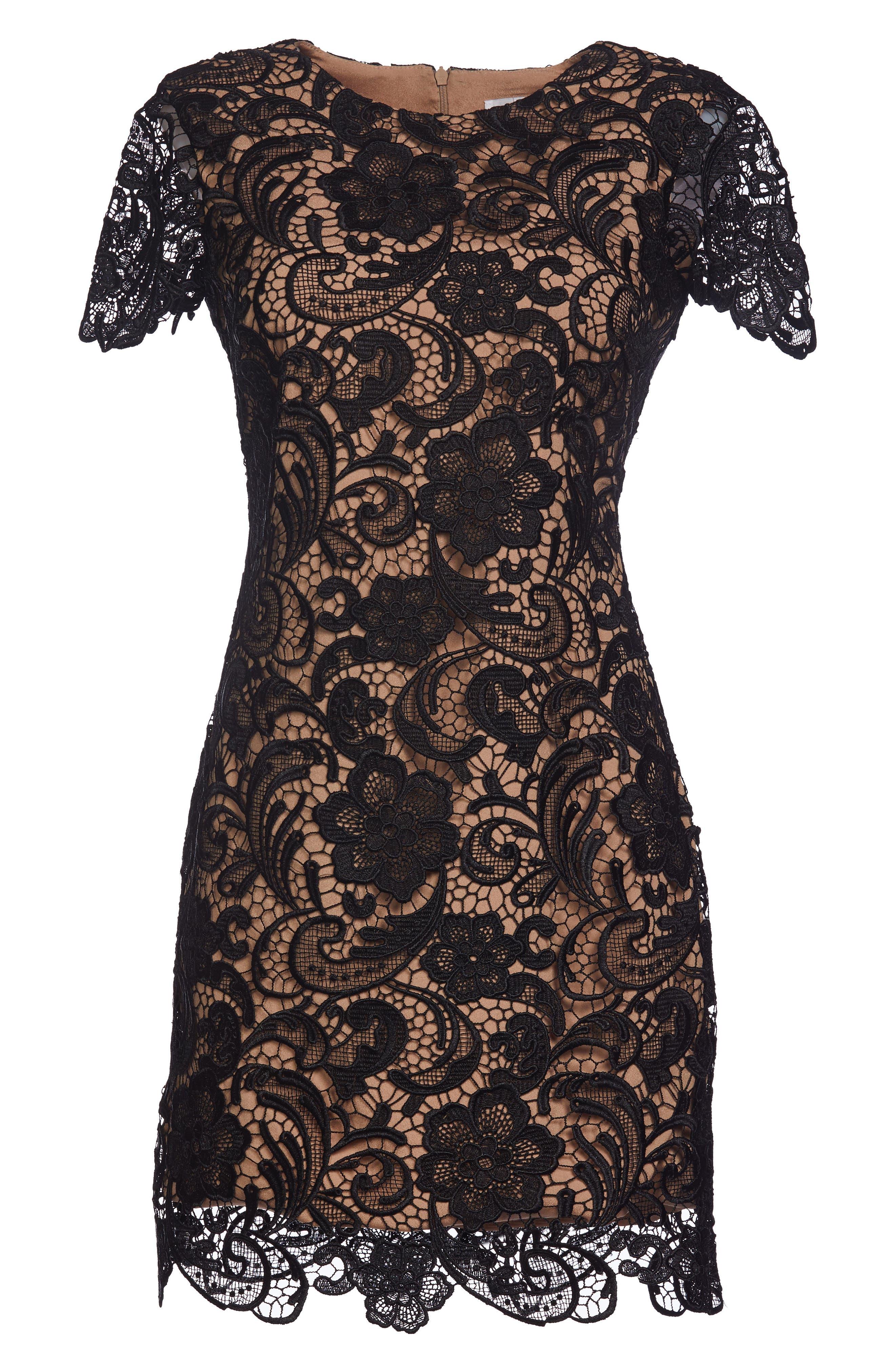 Anna Crochet Lace Sheath Dress,                             Alternate thumbnail 3, color,                             BLACK/ NUDE
