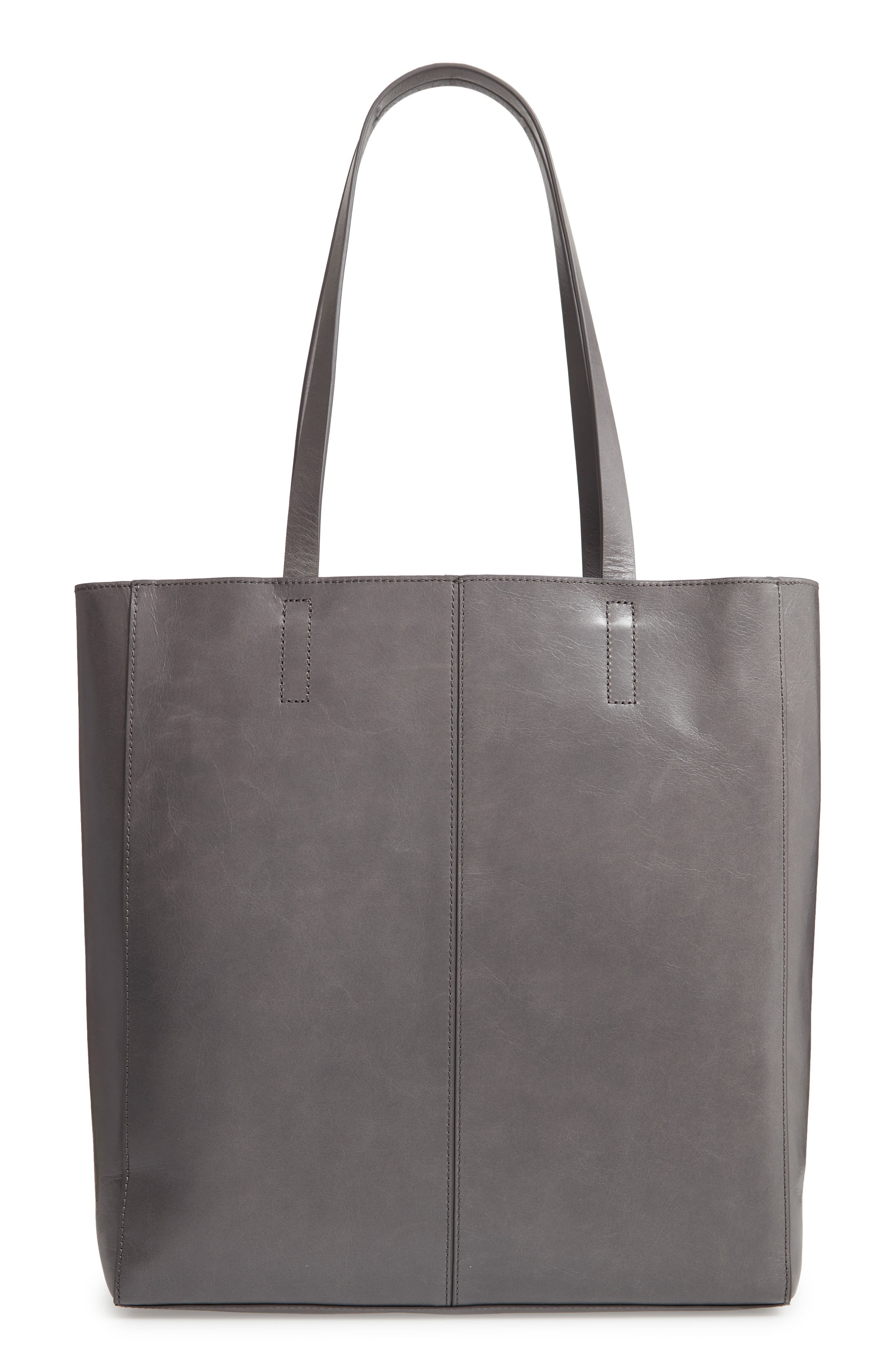 Andi Leather Tote,                             Alternate thumbnail 3, color,                             GREY MONUMENT