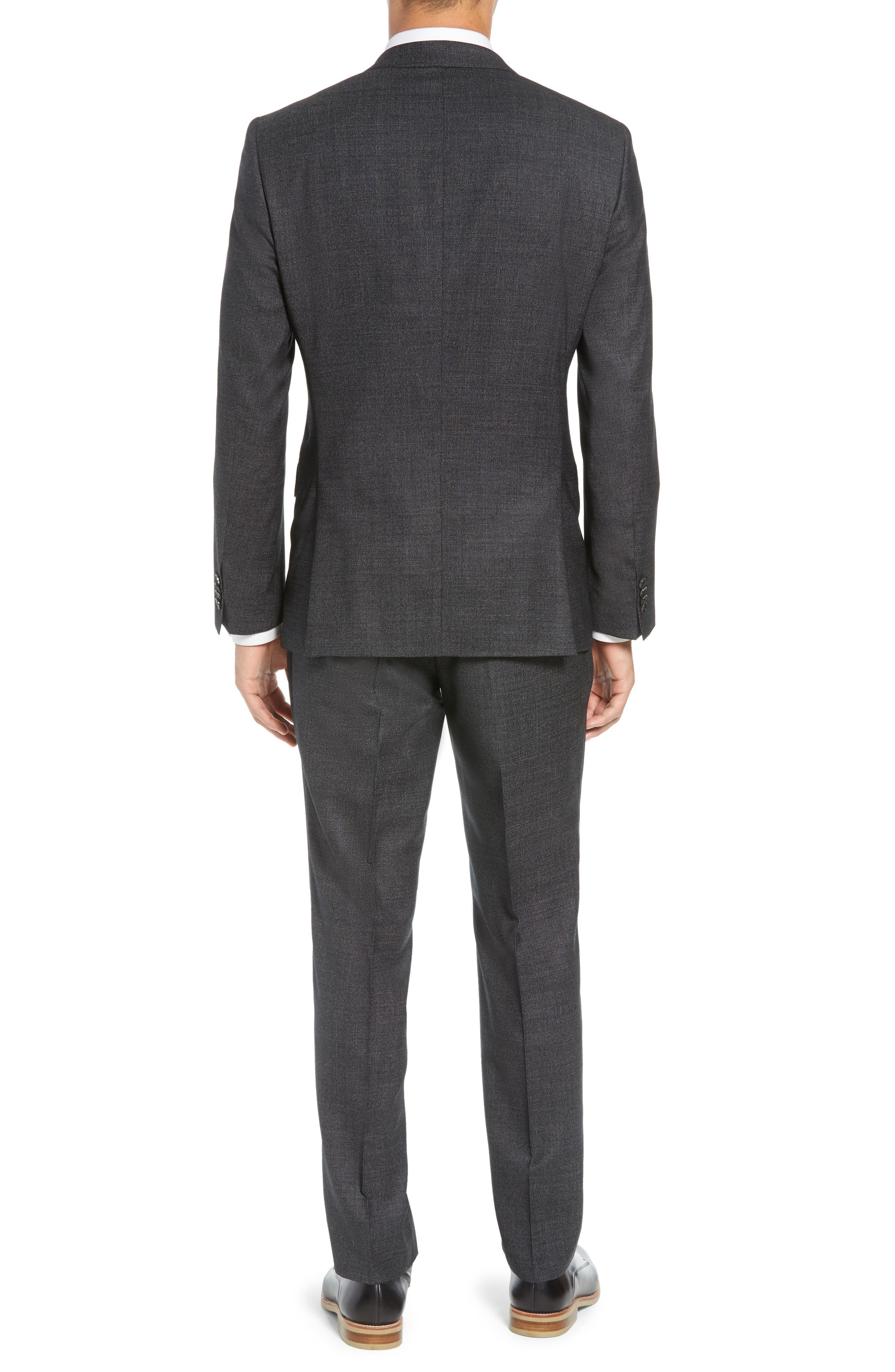 Huge/Genius Trim Fit Solid Wool Suit,                             Alternate thumbnail 2, color,                             BLACK
