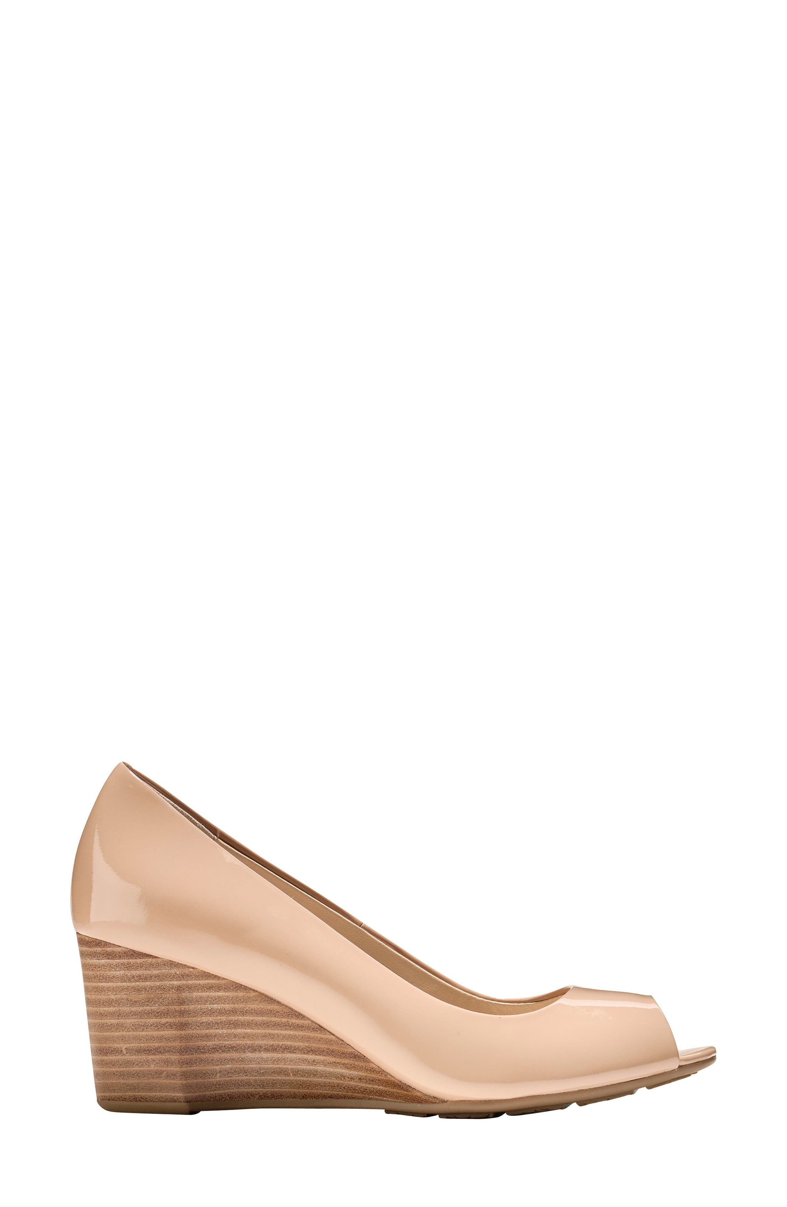 Sadie Open Toe Wedge Pump,                             Alternate thumbnail 2, color,                             NUDE PATENT LEATHER