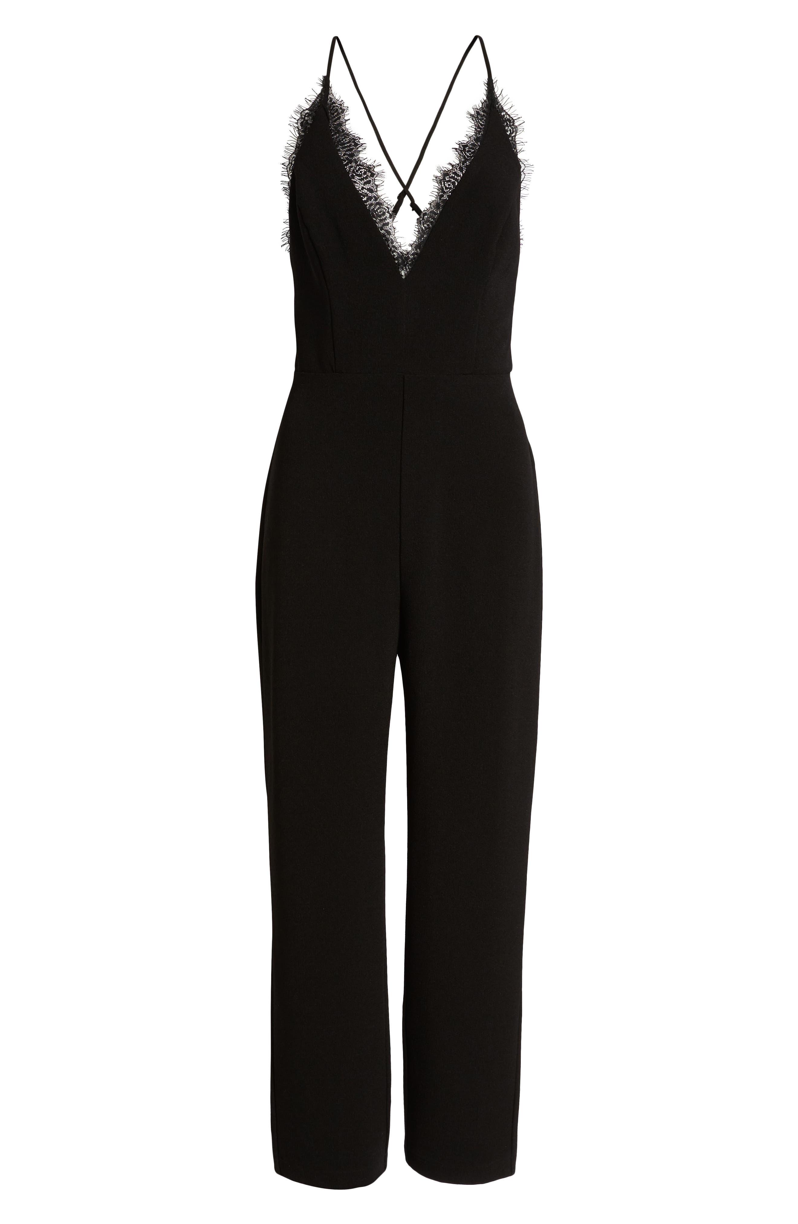 LEITH,                             Deep V-Neck Lace Trim Jumpsuit,                             Alternate thumbnail 7, color,                             BLACK