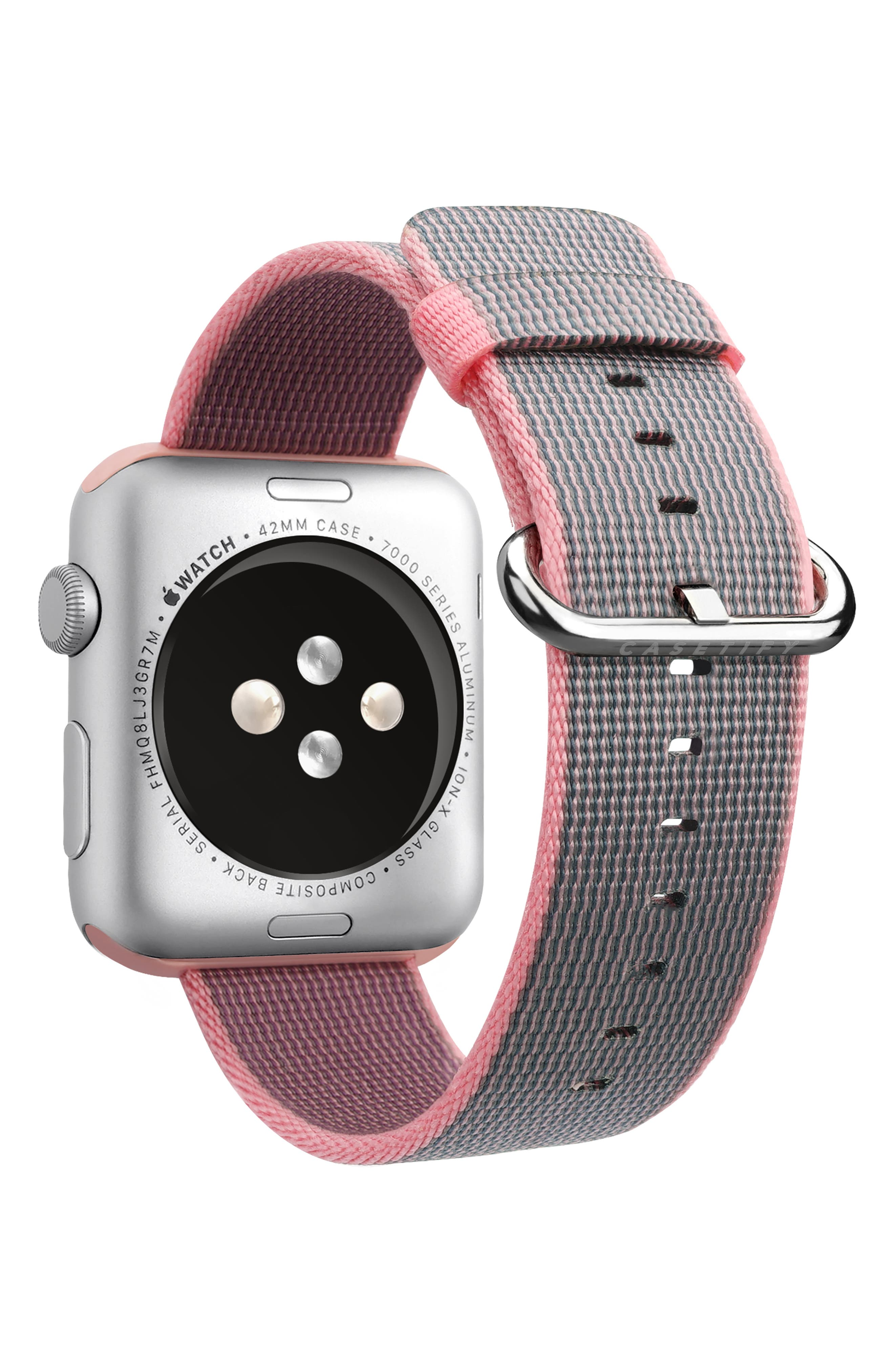 Nylon Apple Watch Strap,                             Alternate thumbnail 2, color,                             PINK/ ROSE GOLD