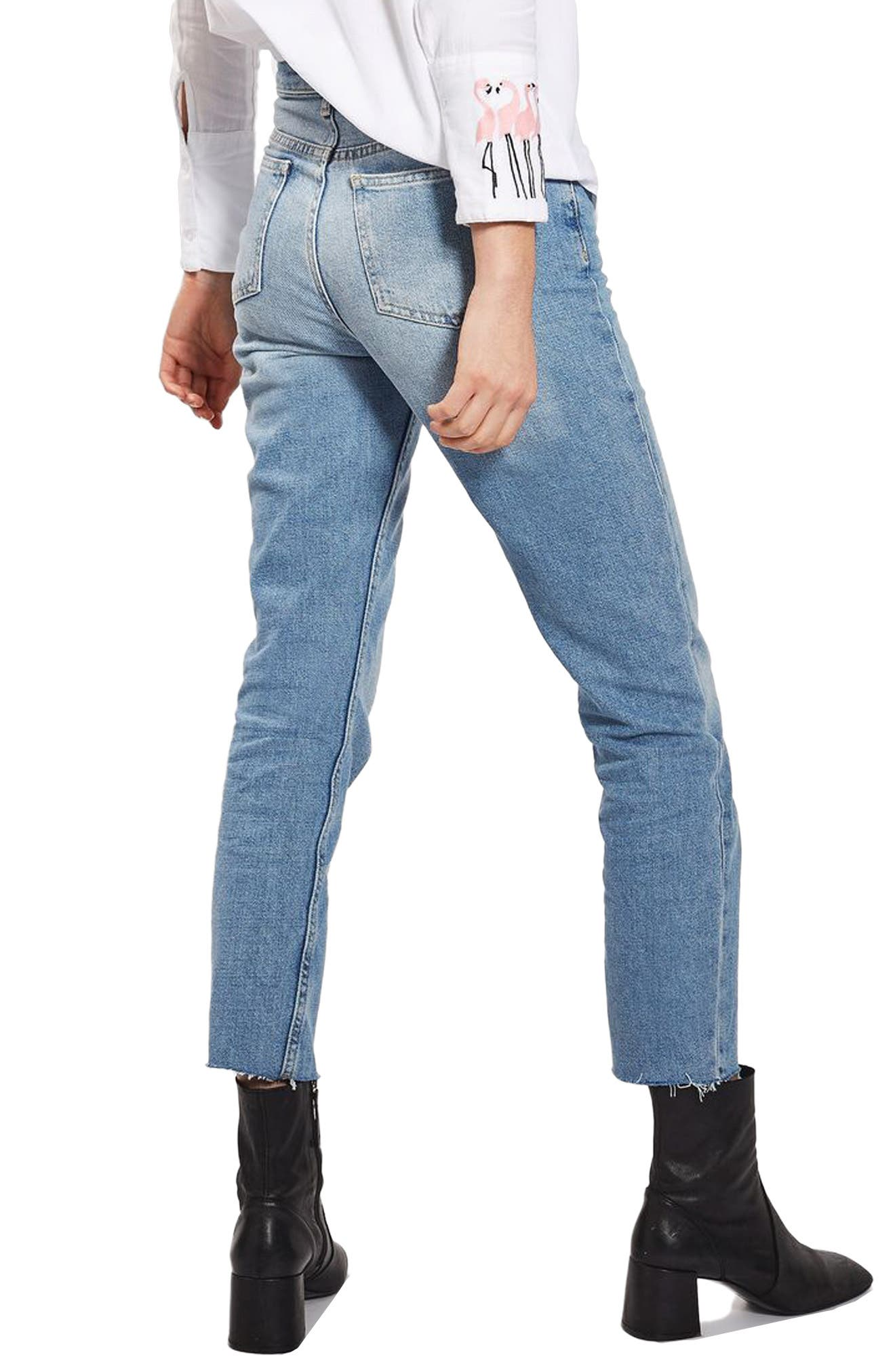 Raw Hem Straight Leg Jeans,                             Alternate thumbnail 2, color,