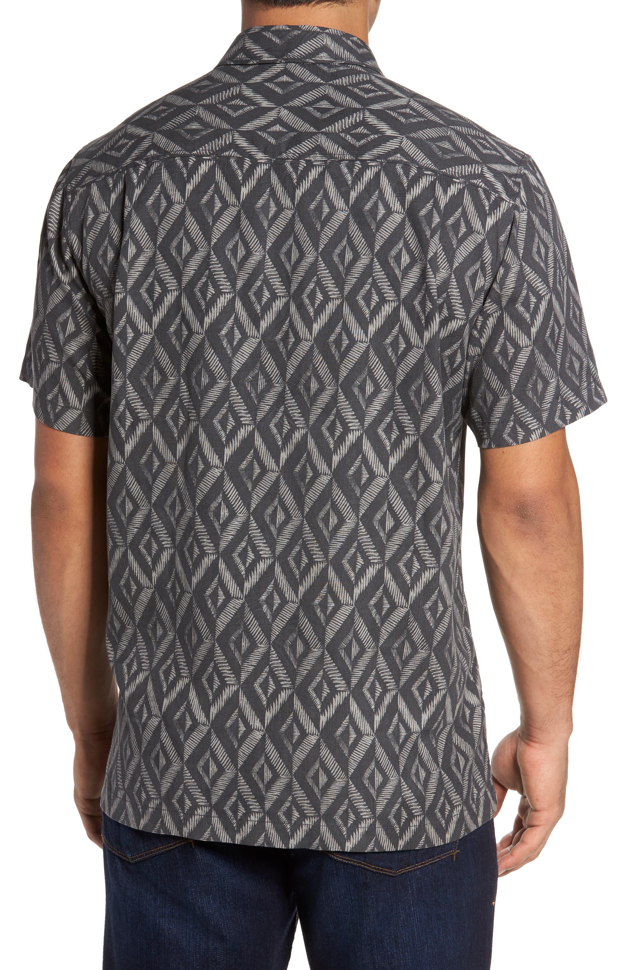 Diamond Tiles Standard Fit Silk Blend Camp Shirt,                             Alternate thumbnail 2, color,