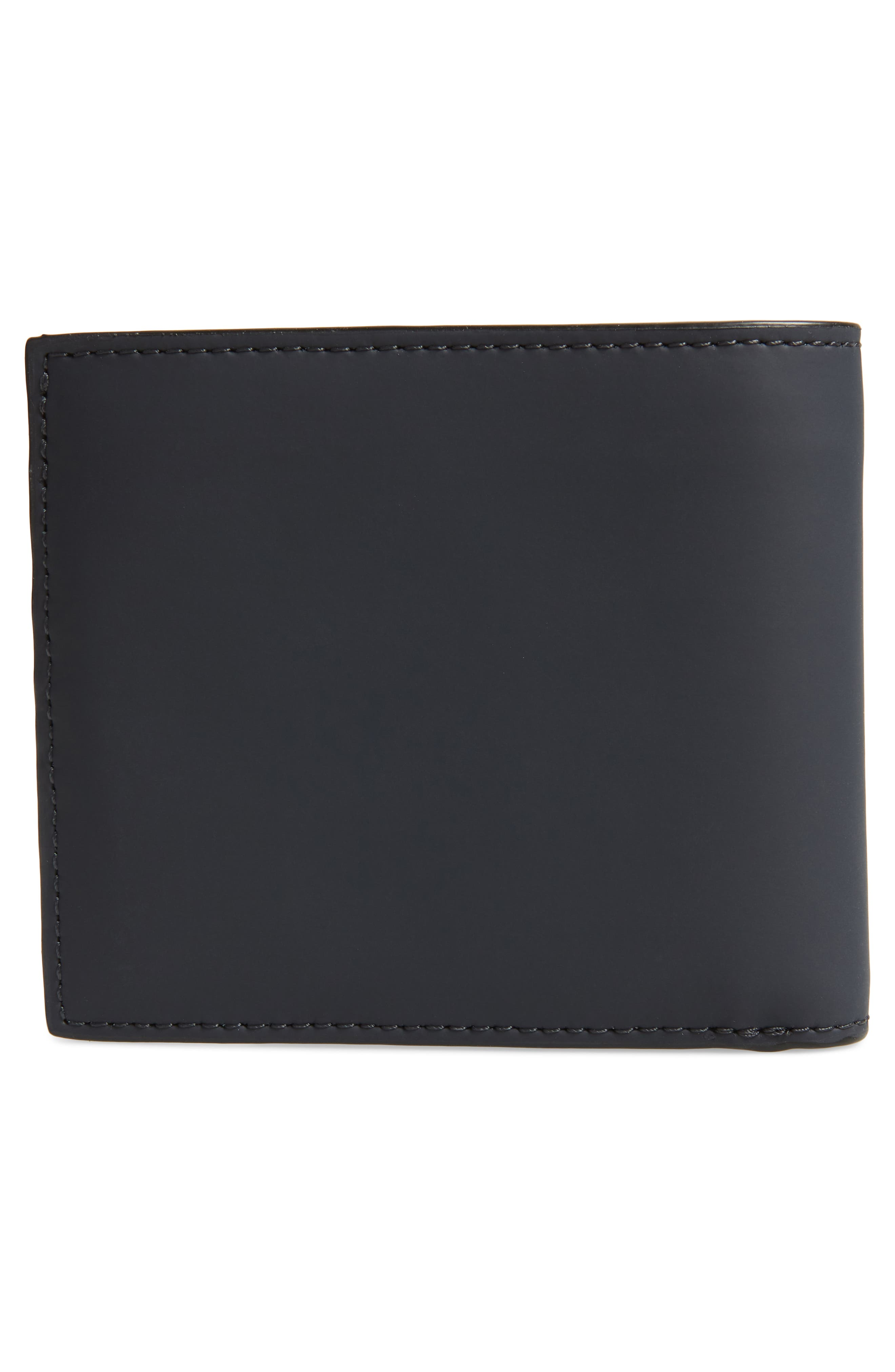 TED BAKER LONDON,                             Rubber Leather Bifold Wallet,                             Alternate thumbnail 3, color,                             NAVY