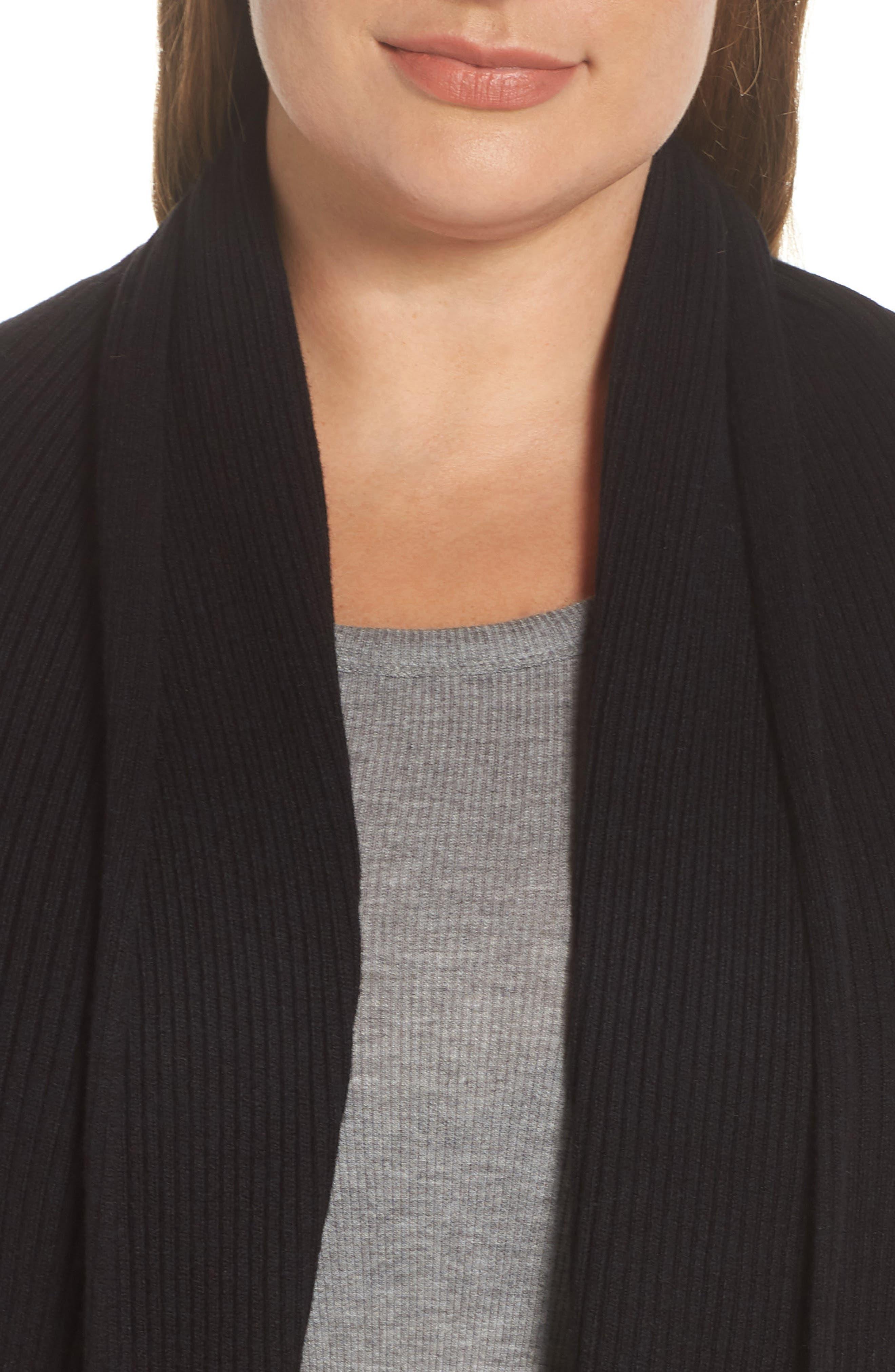 Ribbed Shawl Collar Cardigan,                             Alternate thumbnail 4, color,                             BLACK
