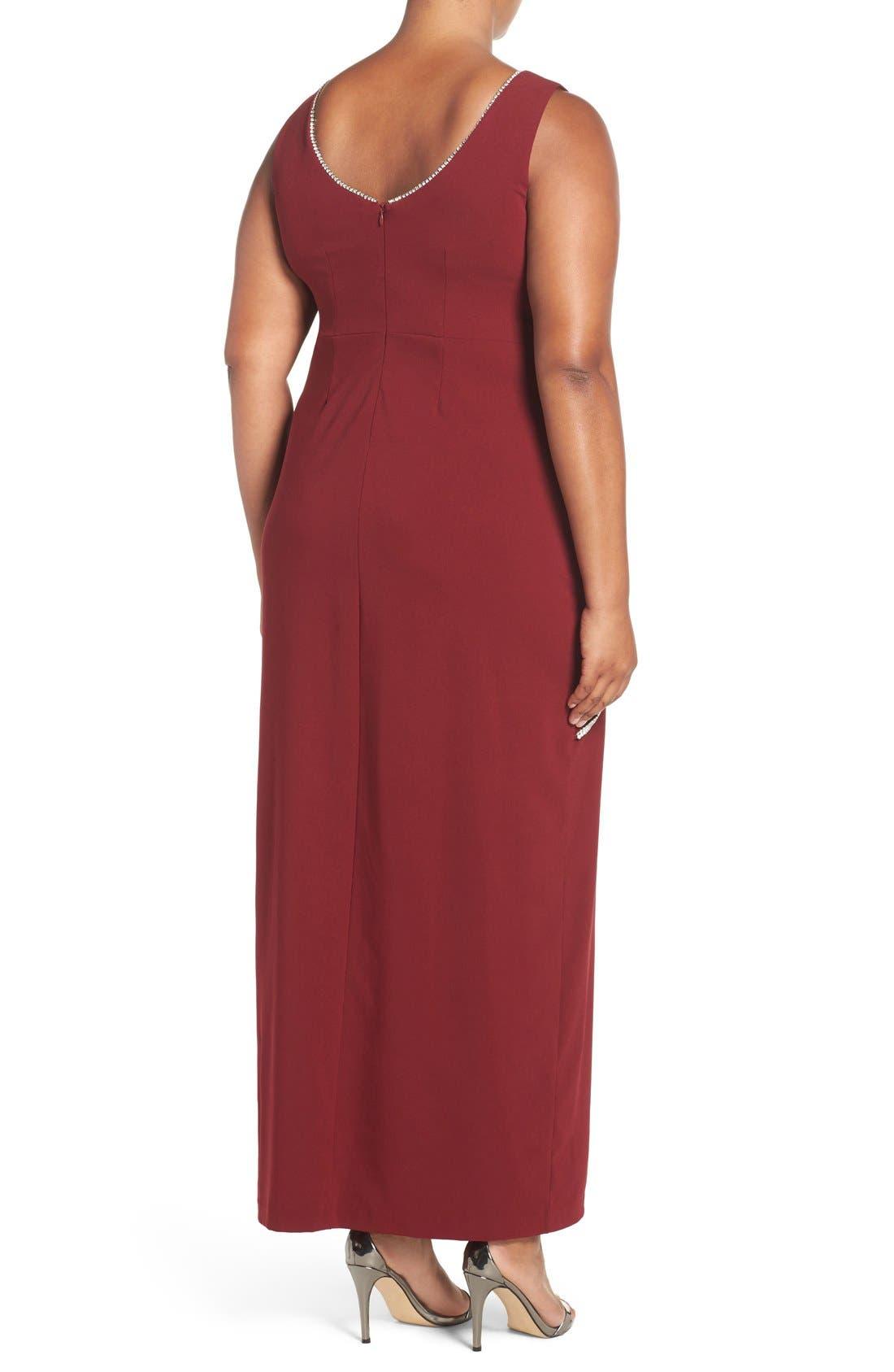 Embellished Overlay Sleeveless Crepe Column Gown,                             Alternate thumbnail 8, color,