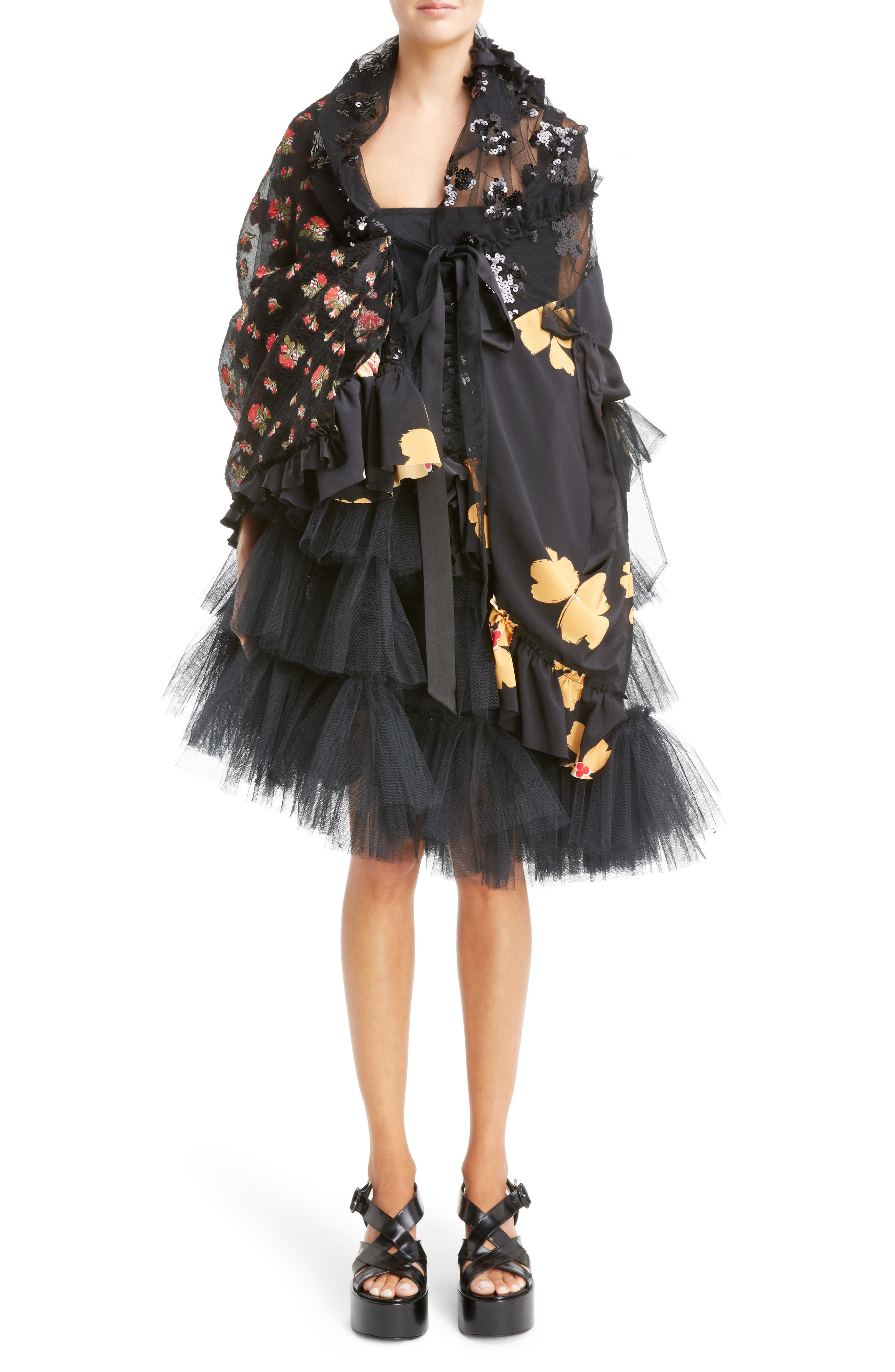 Turbo Tiered Tulle Dress,                             Alternate thumbnail 7, color,                             001