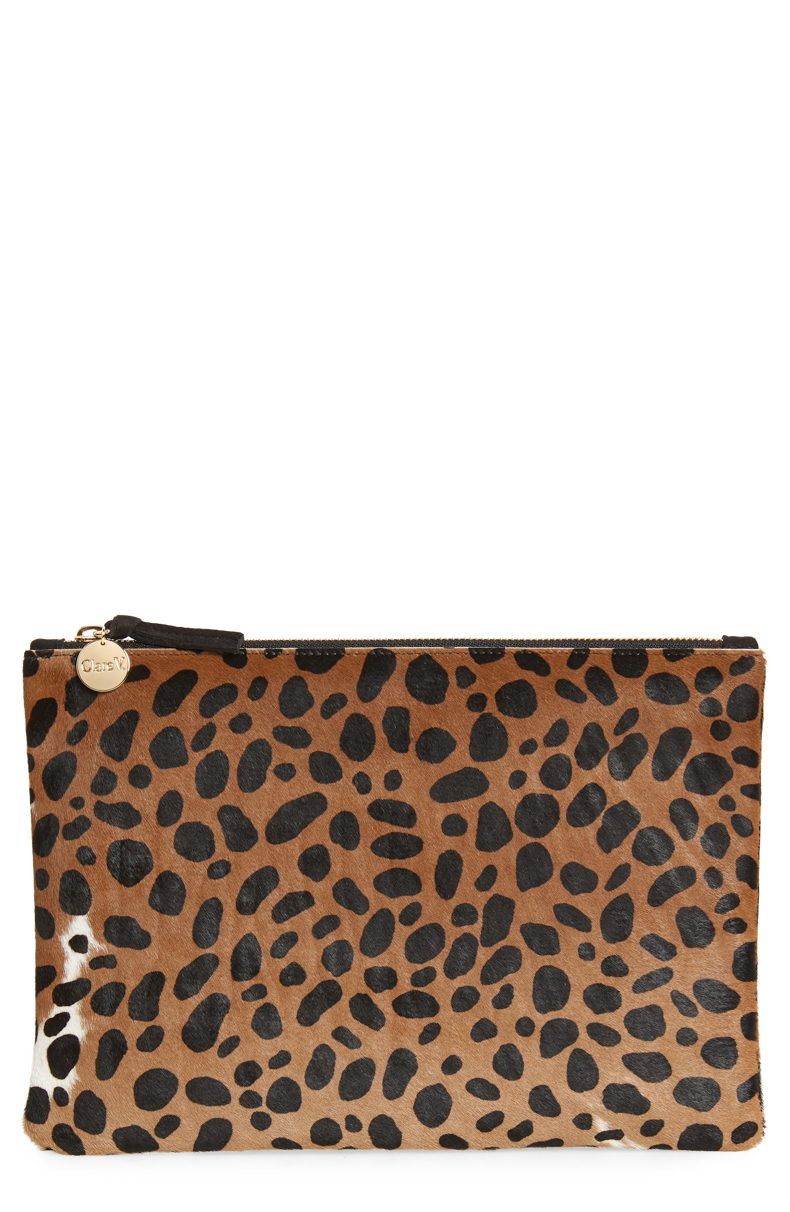 Leopard Print Genuine Calf Hair Clutch,                             Main thumbnail 1, color,                             201