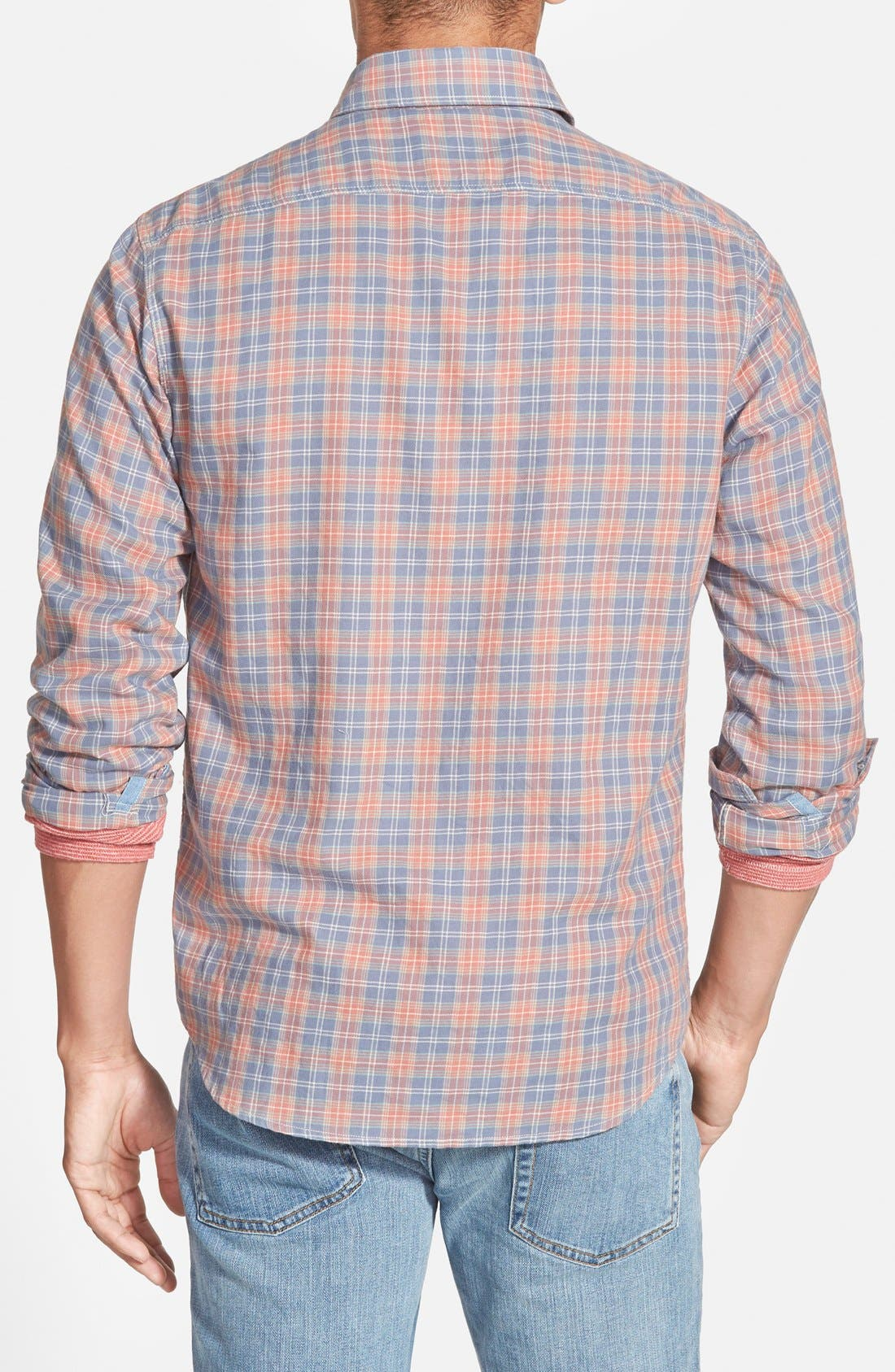 'Ventura' Trim Fit Washed Plaid Sport Shirt,                             Alternate thumbnail 3, color,                             600
