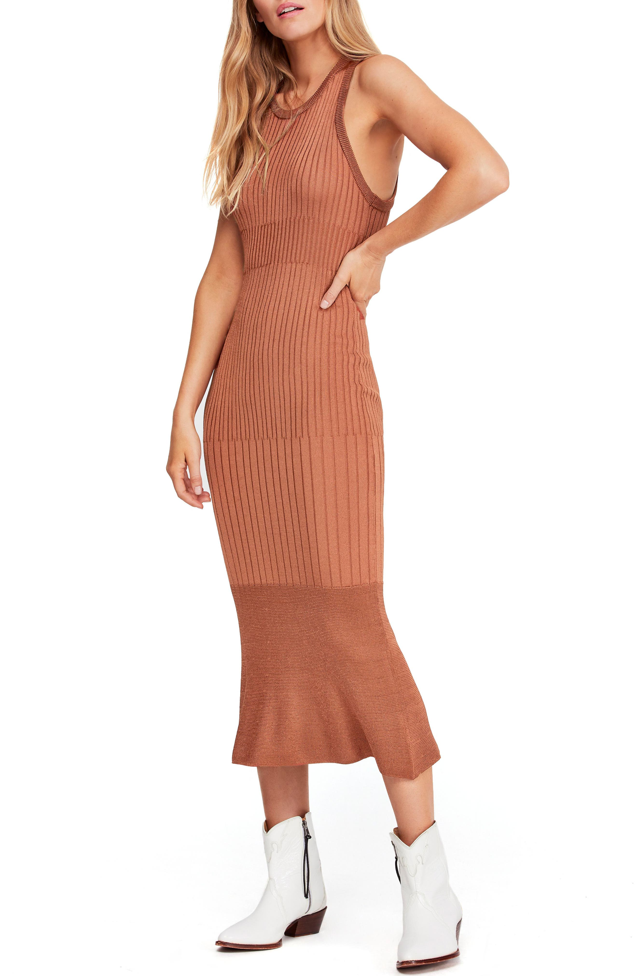 Free People Come My Way Body-Con Sweater Dress, Brown