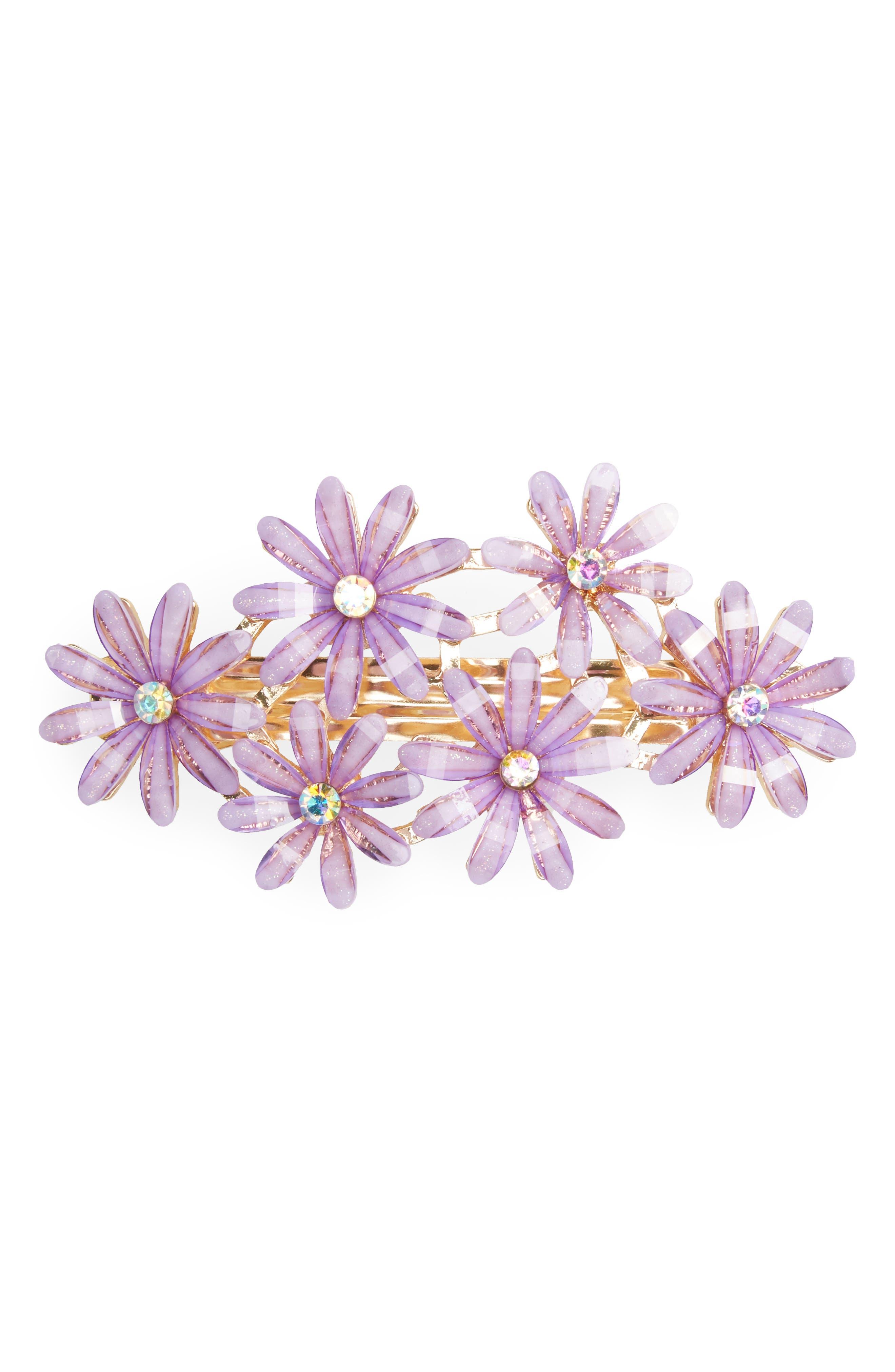 Enamel Flower Barrette,                         Main,                         color, 500