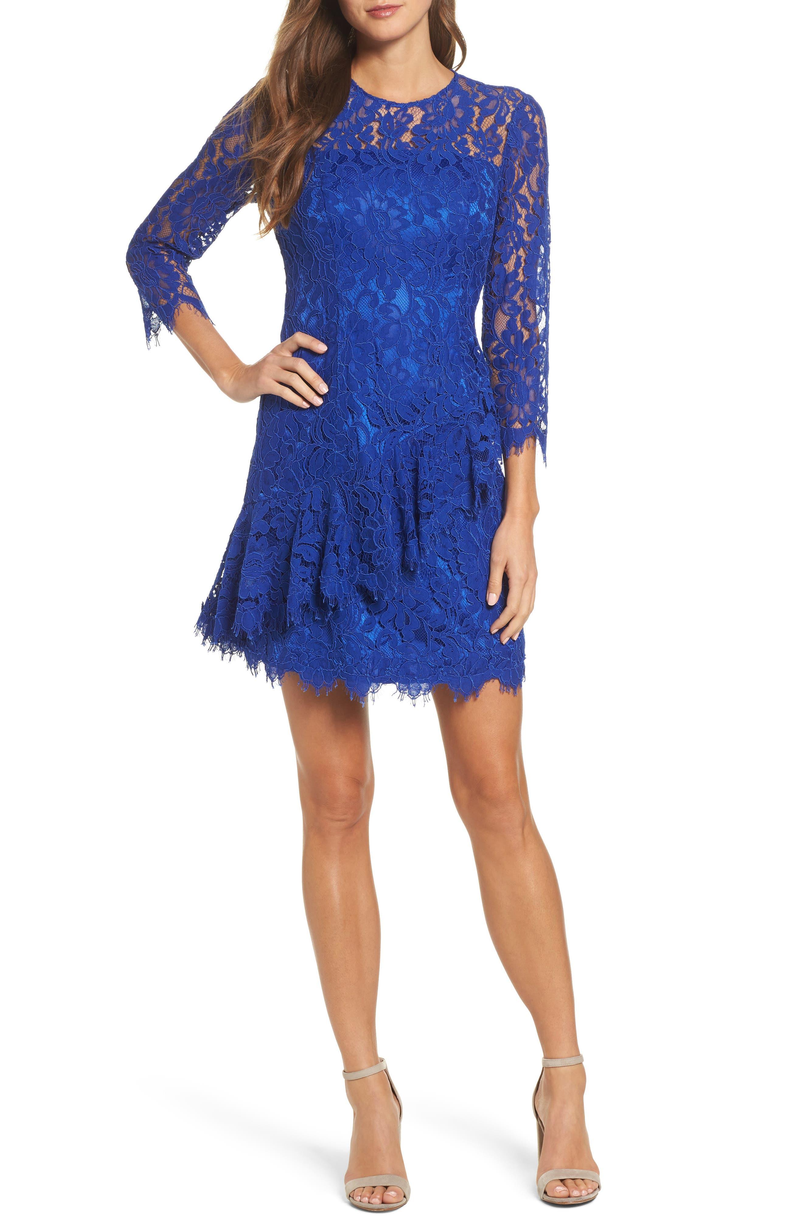 Lace Fit & Flare Dress,                             Main thumbnail 1, color,                             430