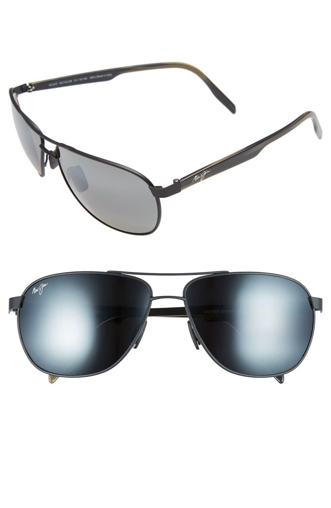 'Castles - PolarizedPlus<sup>®</sup>2' 61mm Aviator Sunglasses,                             Main thumbnail 1, color,                             MATTE BLACK