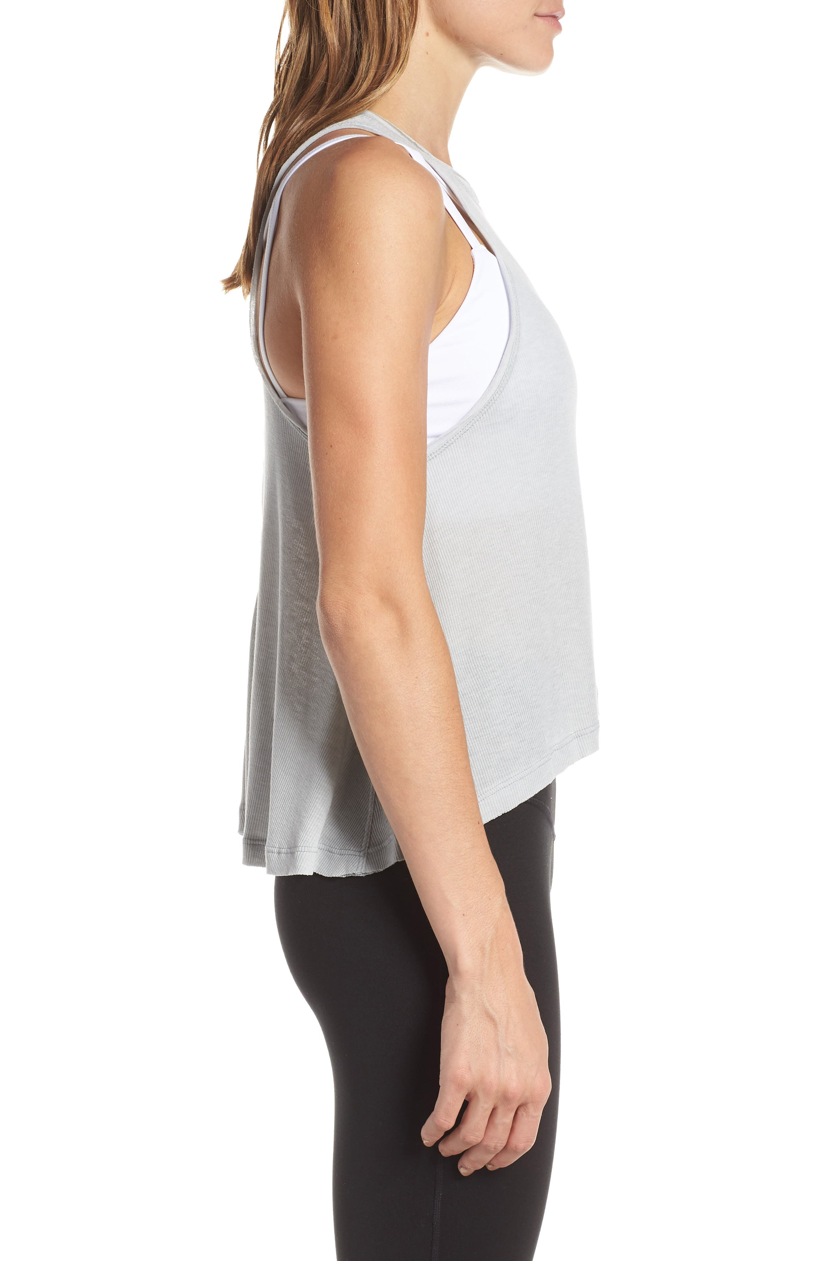 FREE PEOPLE MOVEMENT,                             Free People FP Movement The Rise & Fall Tank,                             Alternate thumbnail 3, color,                             GREY