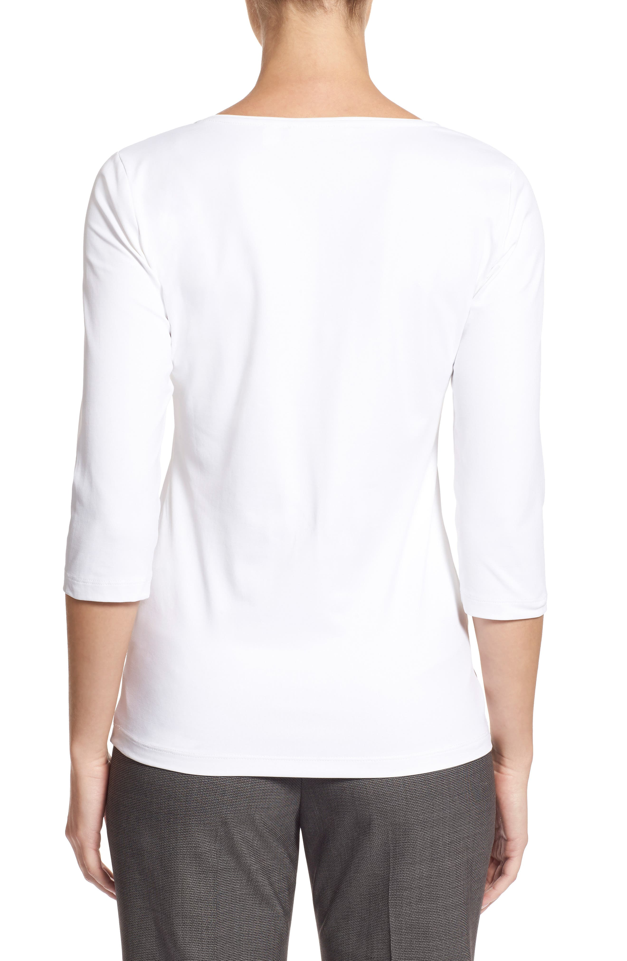 BOSS Scoop Neck Stretch Jersey Top, Main, color, VANILLA