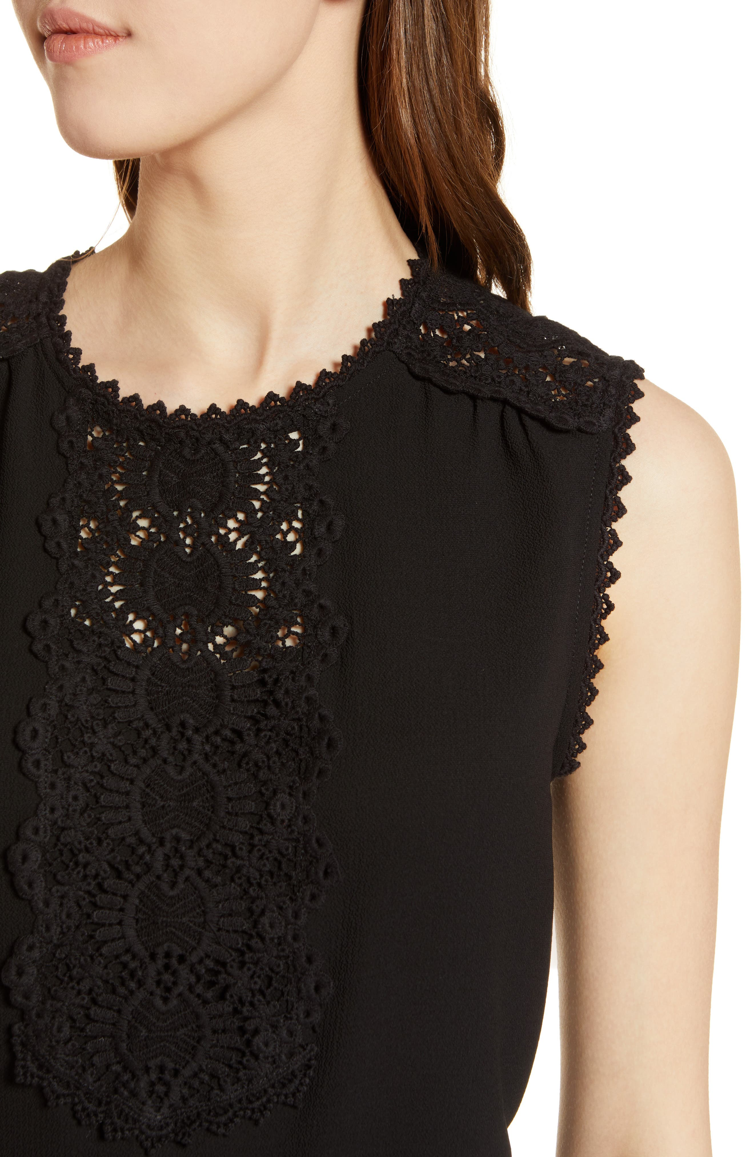 Lace Detail Stretch Crepe Tank Top,                             Alternate thumbnail 4, color,                             001