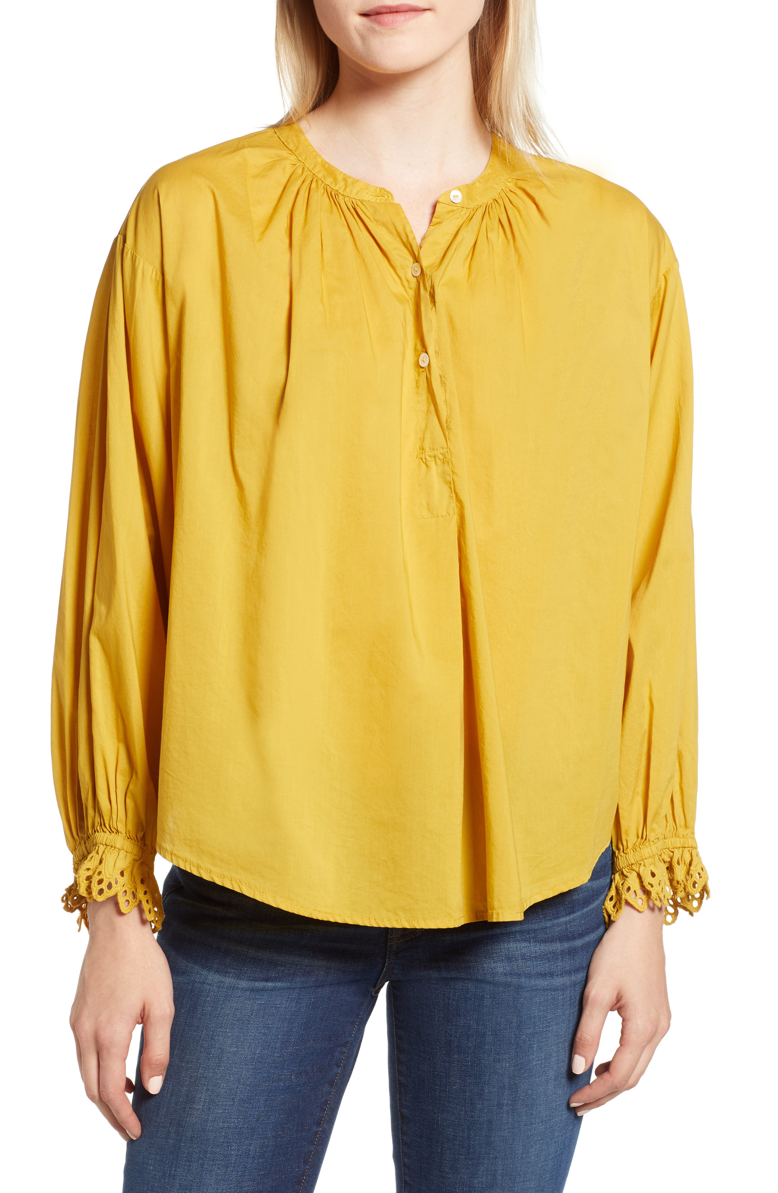 Eyelet Cuff Cotton Poplin Blouse,                             Main thumbnail 1, color,                             SUNBEAM