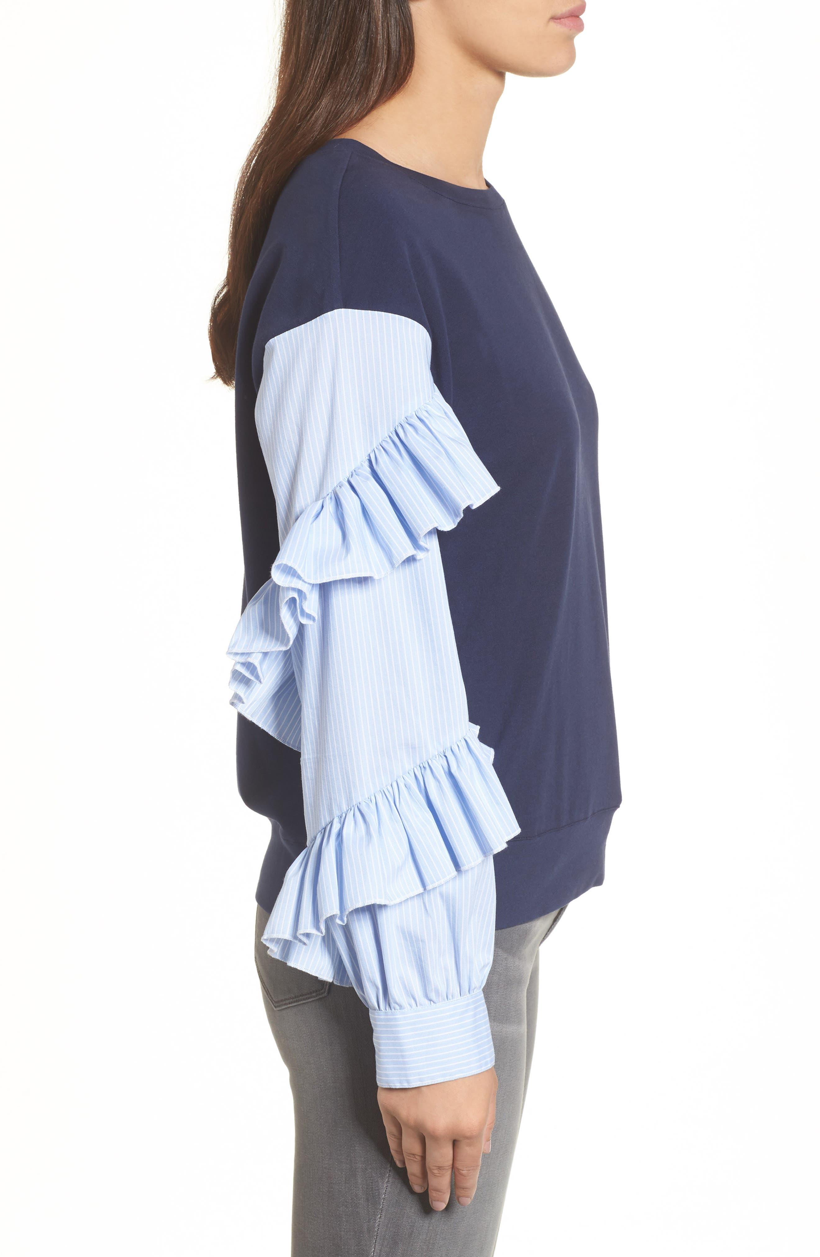 Poplin Ruffle Sleeve Sweatshirt,                             Alternate thumbnail 9, color,