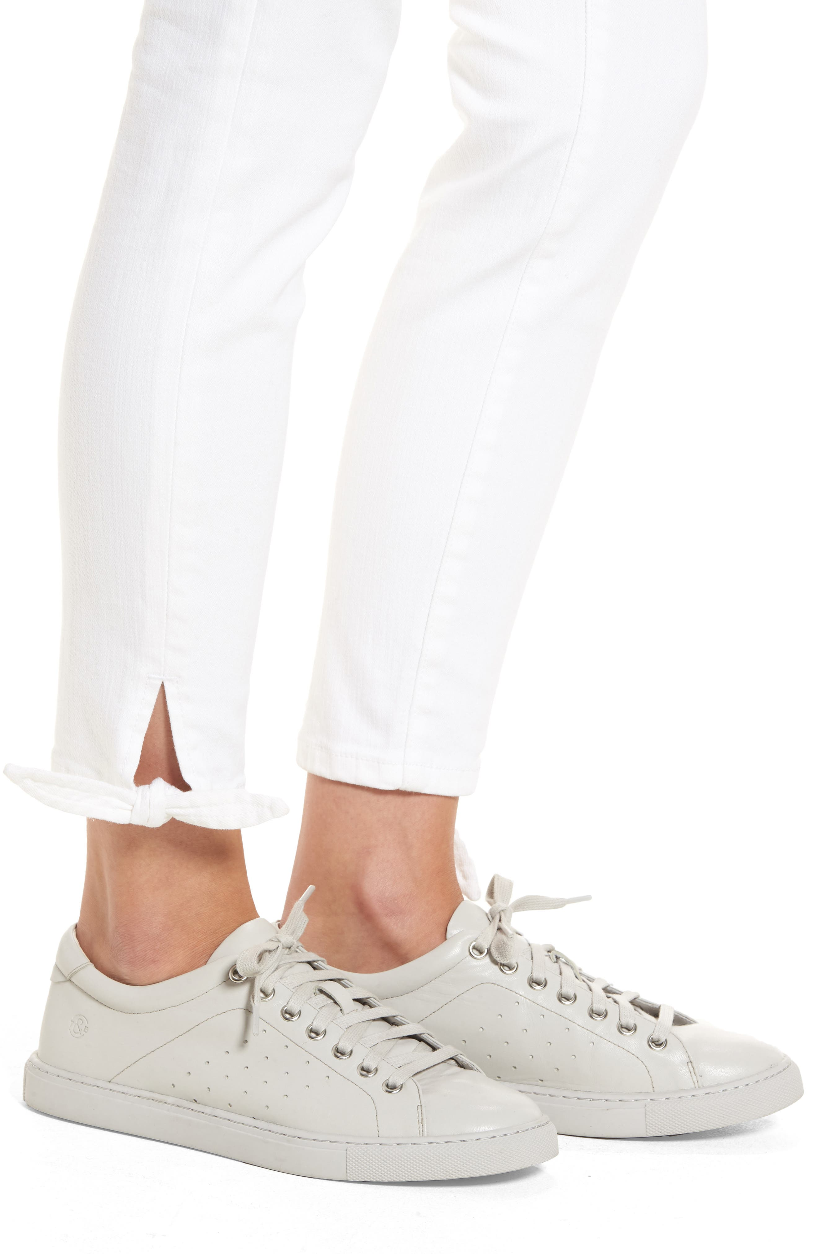 Tie Ankle Skinny Jeans,                             Alternate thumbnail 4, color,                             100