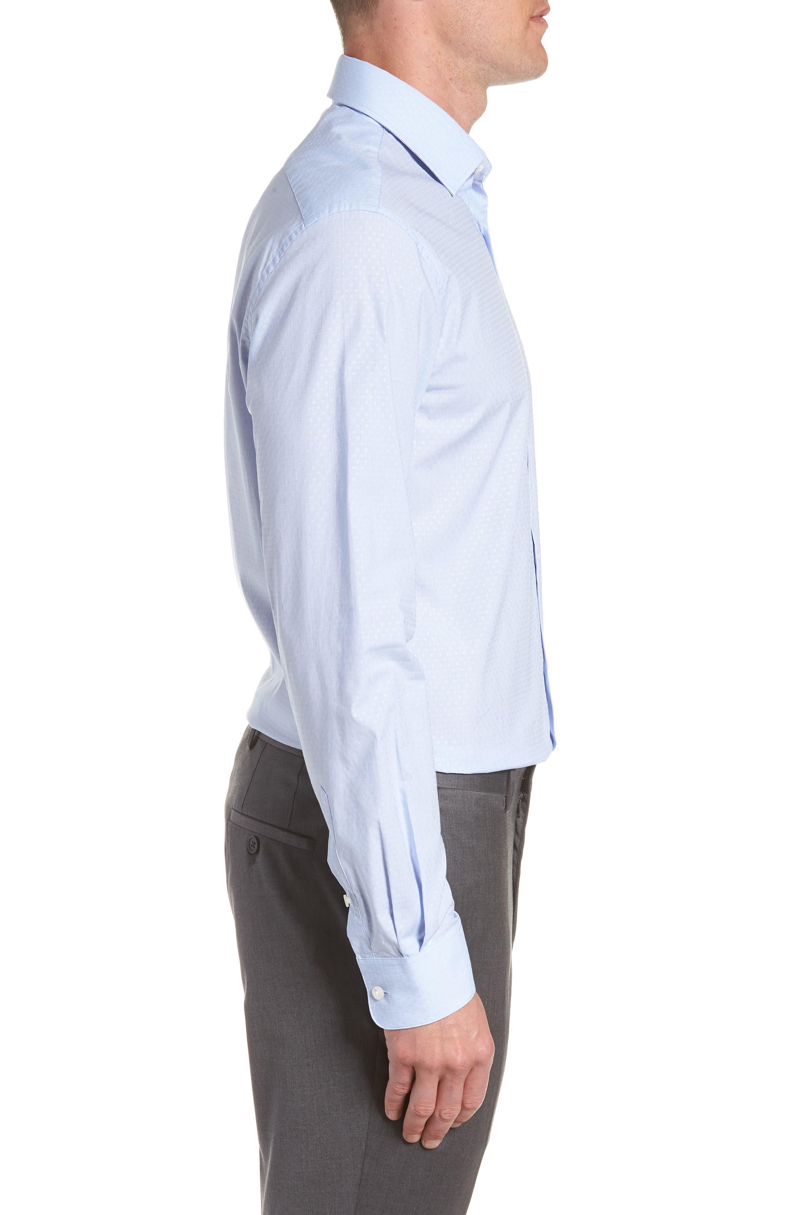 Regular Fit Stripe Dress Shirt,                             Alternate thumbnail 4, color,                             CLOUD