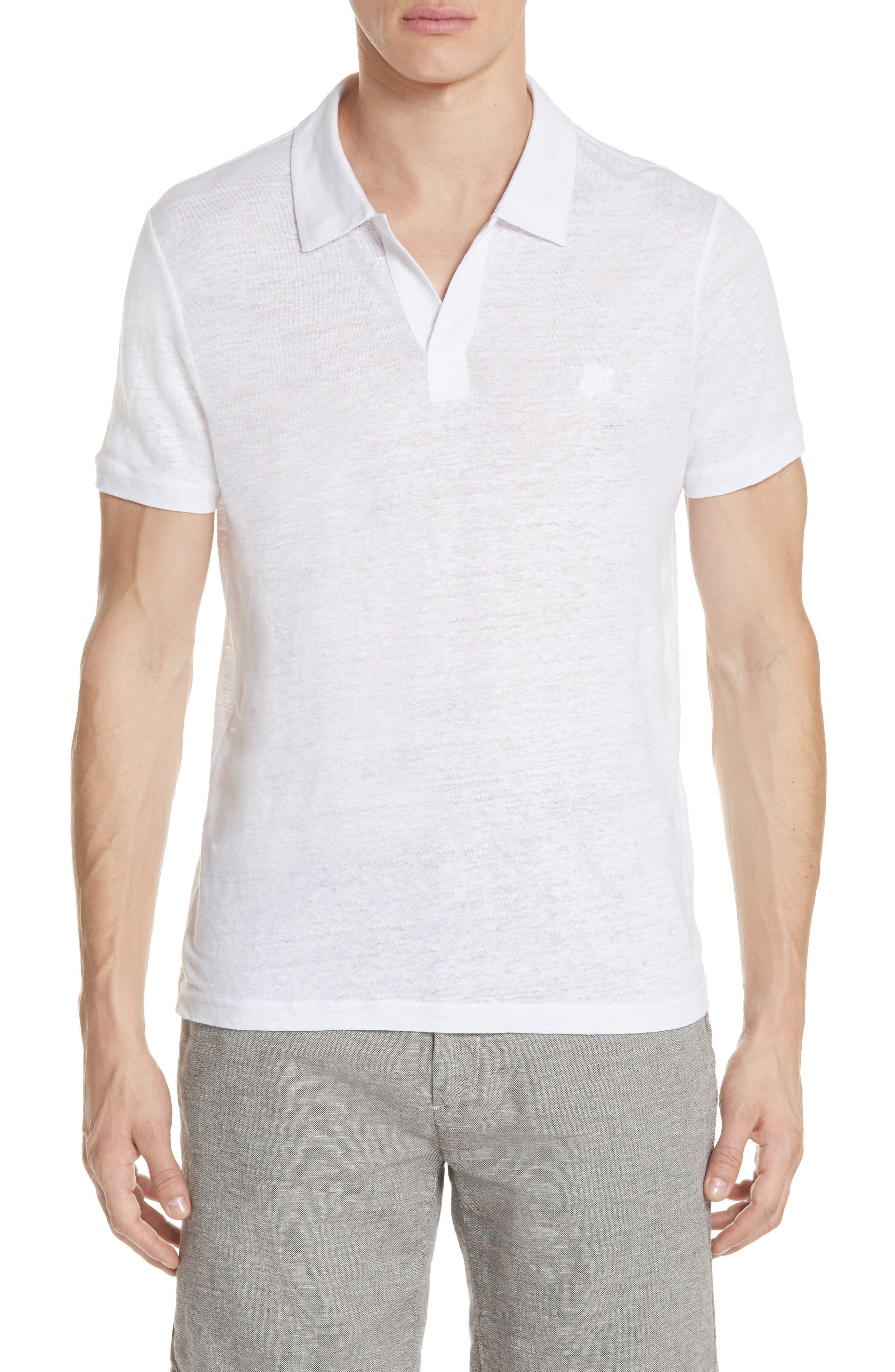 Linen Slub Jersey Linen Polo,                         Main,                         color, WHITE