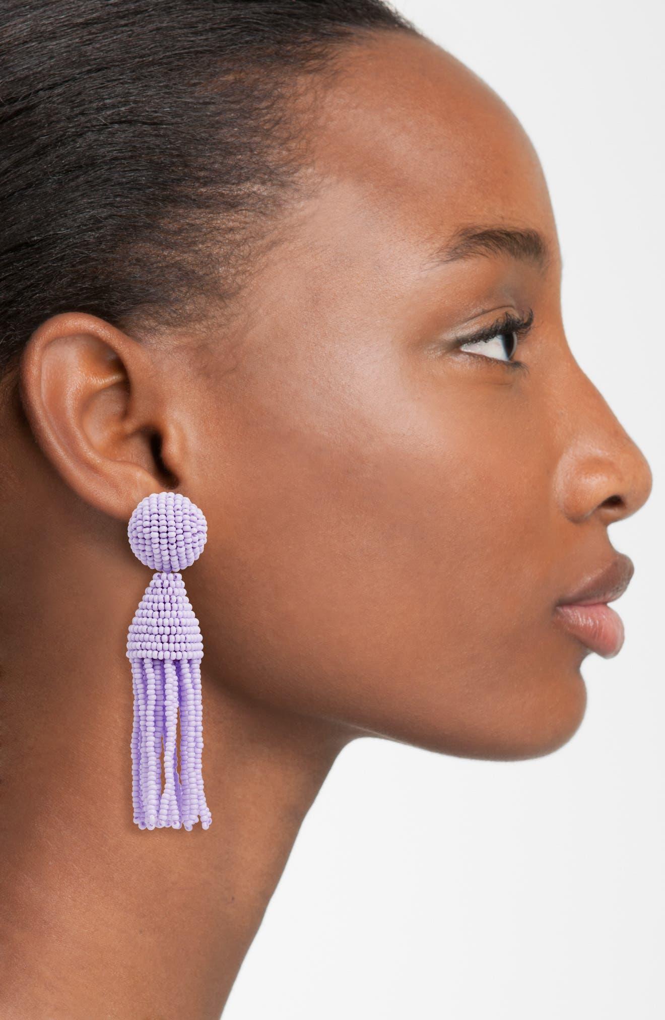 'Classic Short' Tassel Drop Clip Earrings,                             Alternate thumbnail 37, color,