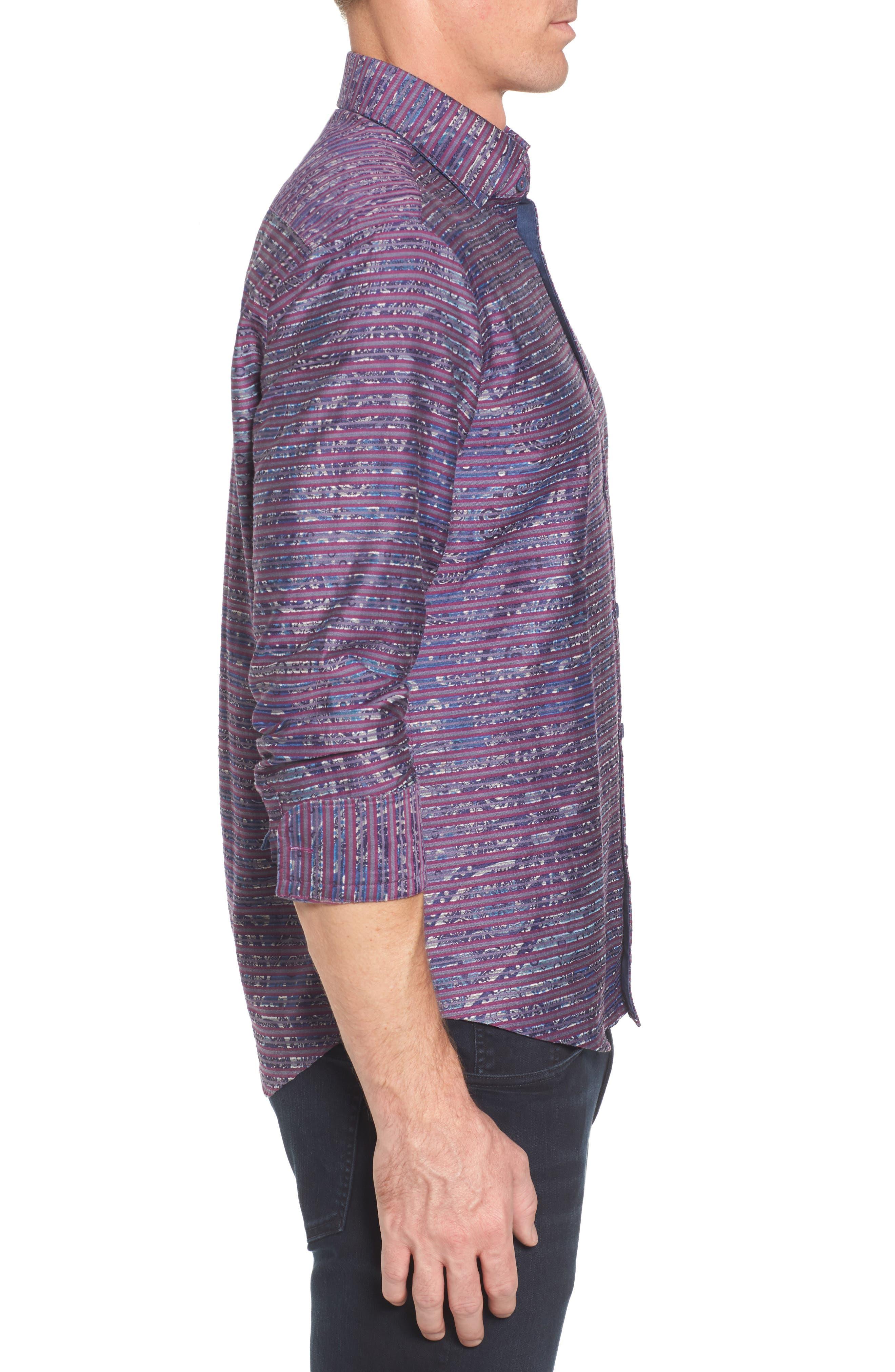 Regular Fit Stripe Paisley Sport Shirt,                             Alternate thumbnail 3, color,                             645