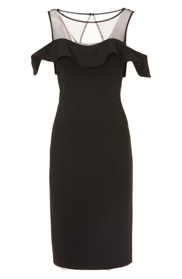 Js Collections Illusion Neck Ruffle Sleeve Cocktail Dress Nordstrom