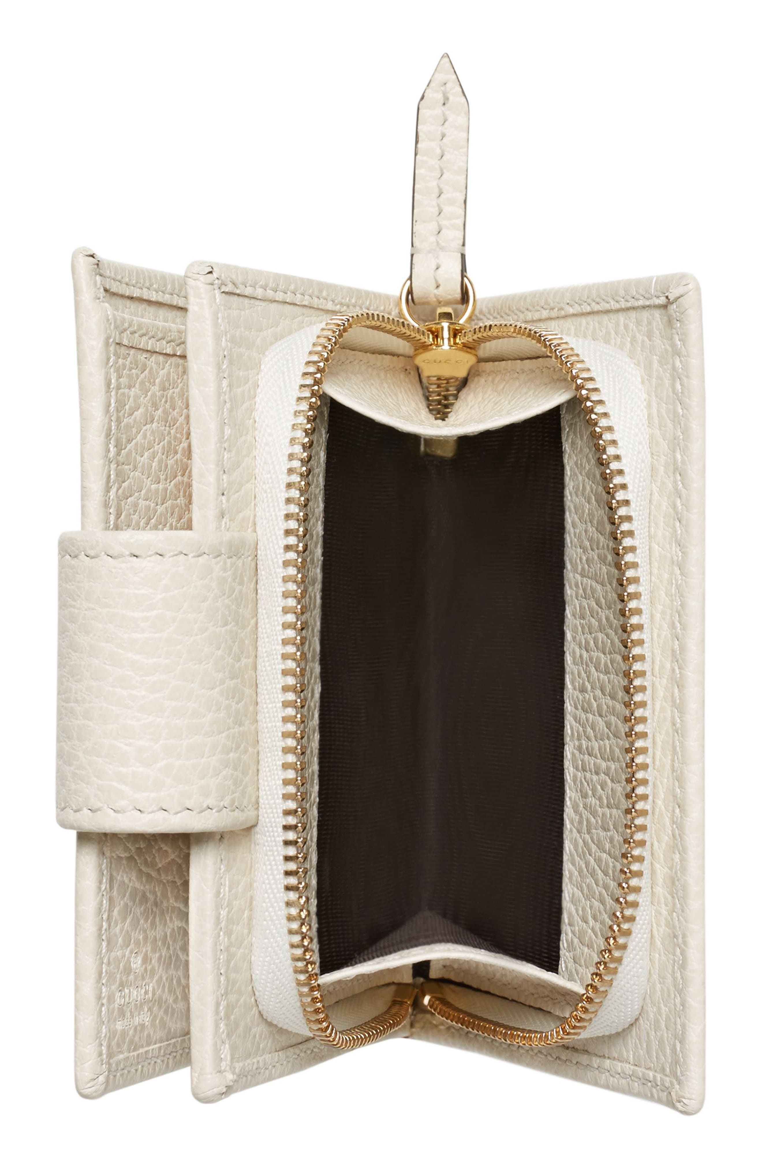 GG Marmont Leather Wallet,                             Alternate thumbnail 4, color,                             MYSTIC WHITE