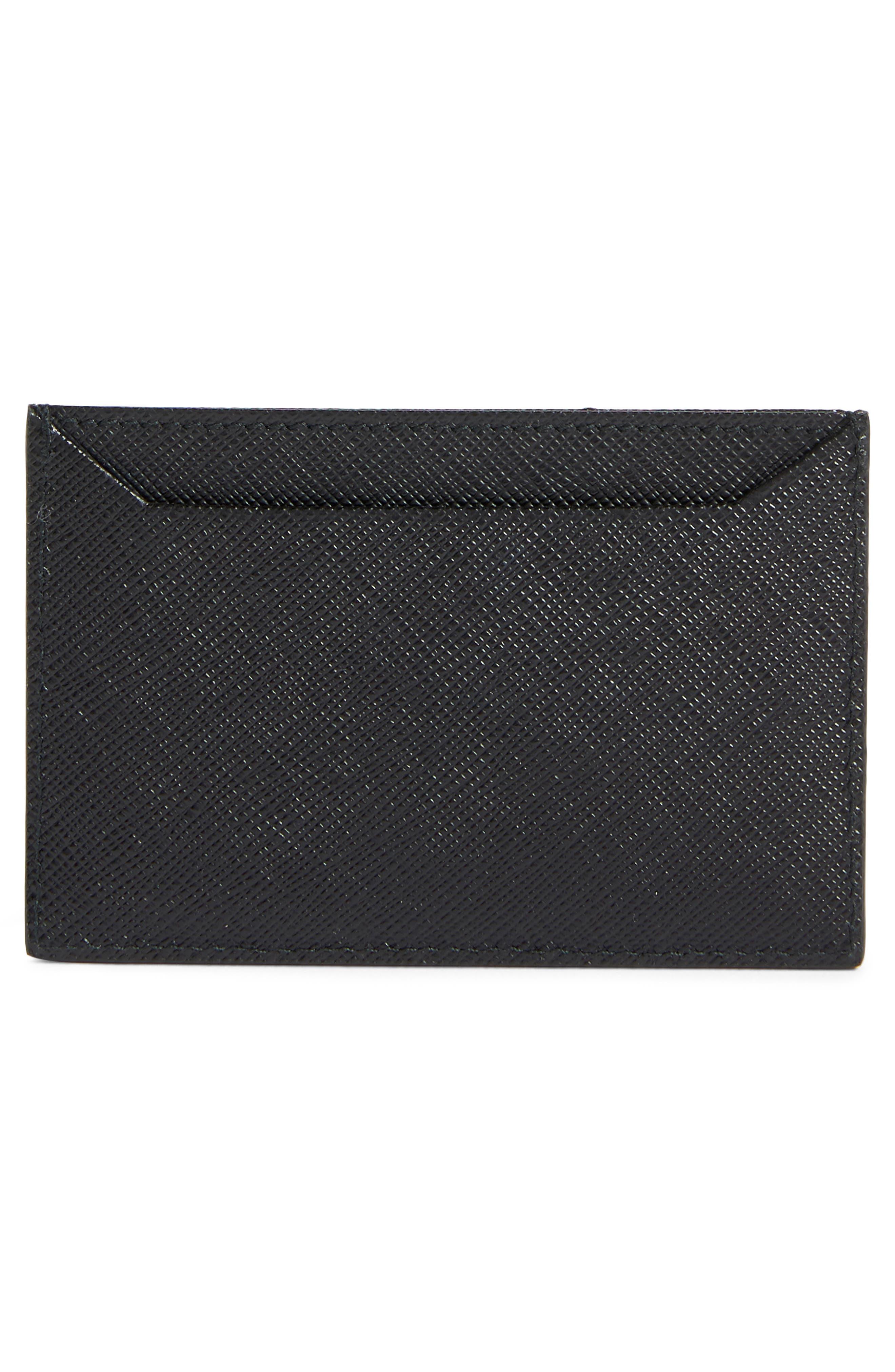 PRADA,                             Saffiano Leather Card Case,                             Alternate thumbnail 2, color,                             F0N98 NERO/ROSSO