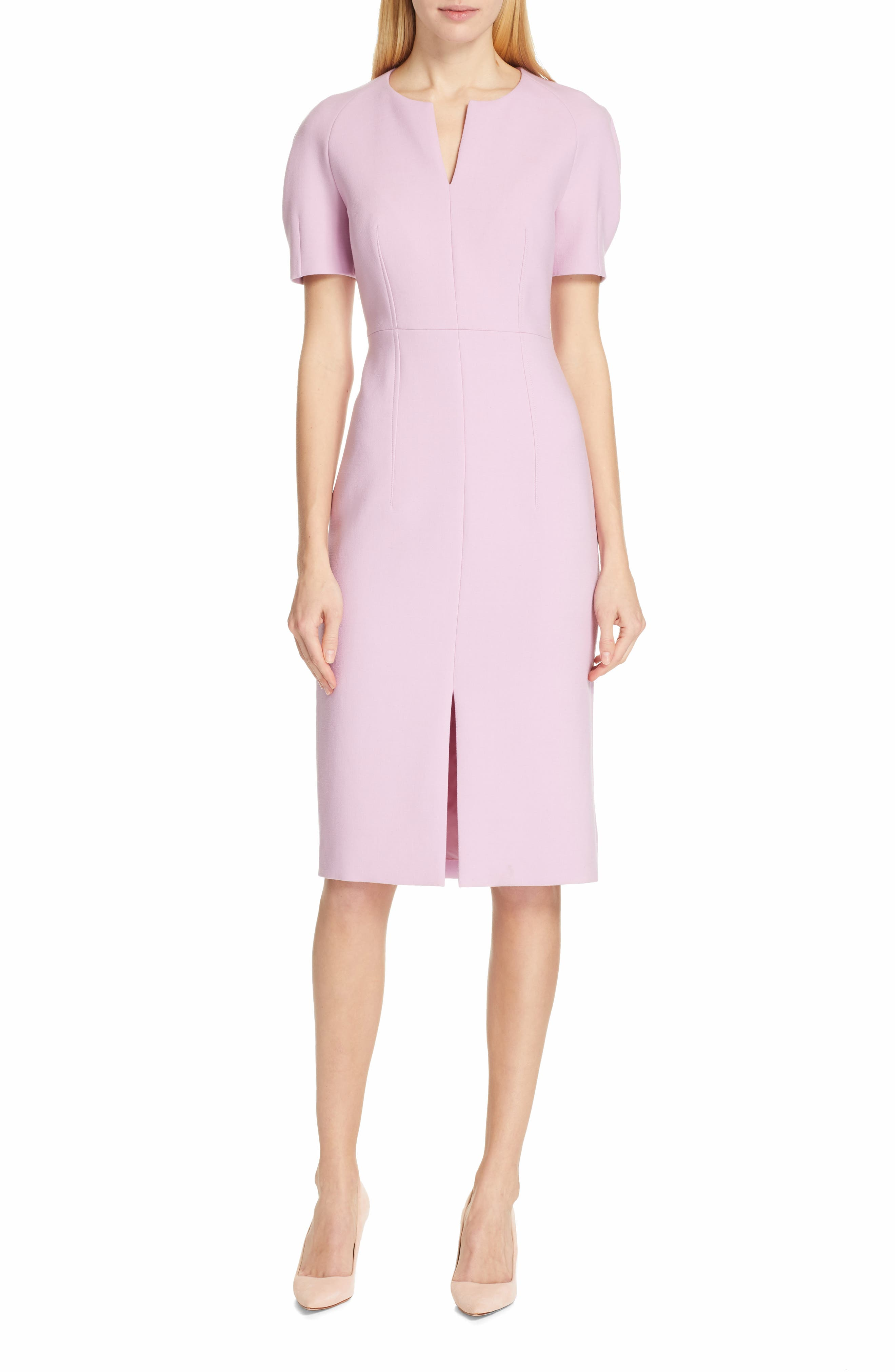 Boss Darera Short Sleeve Ponte Sheath Dress, Pink