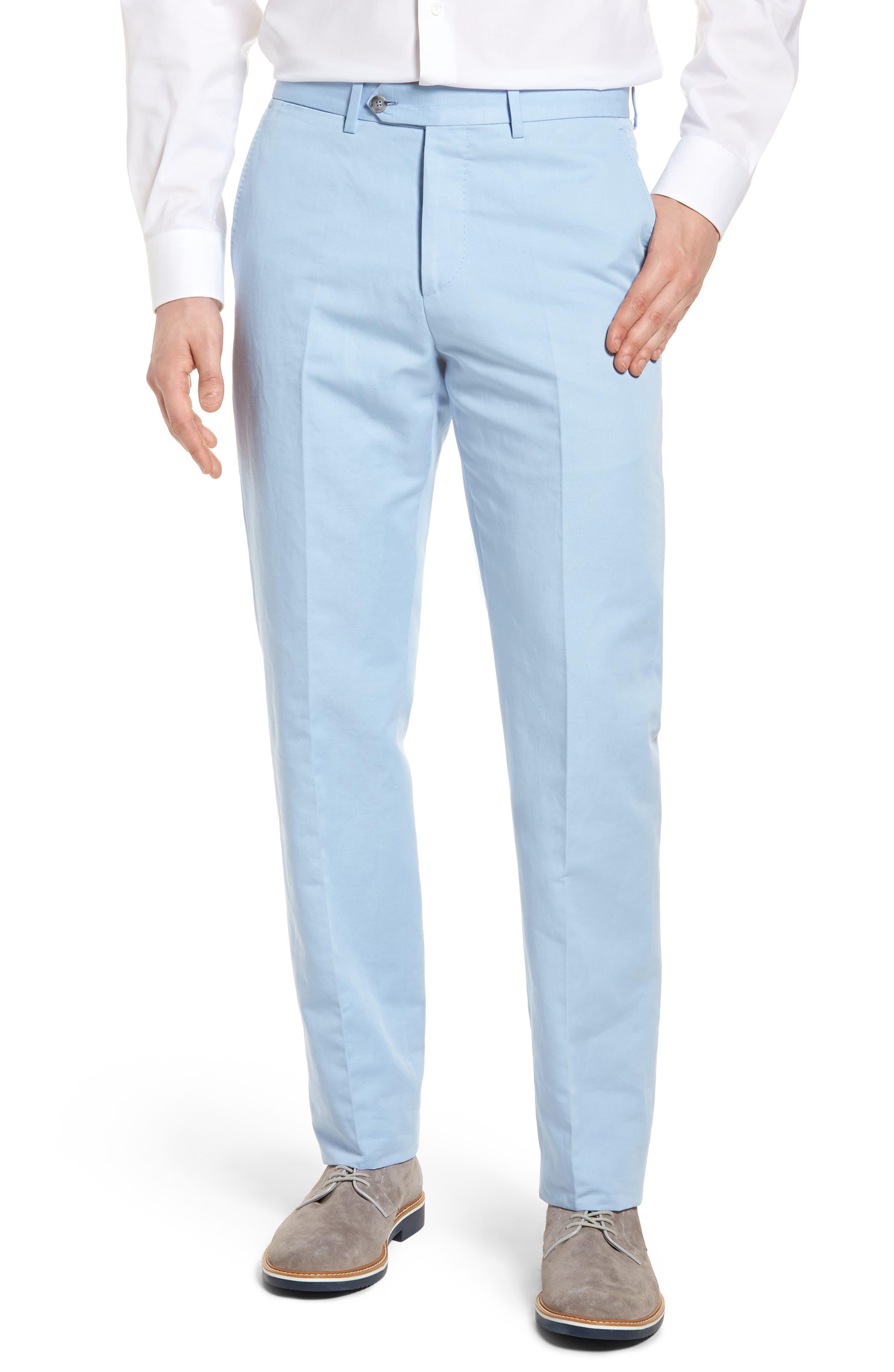 Flat Front Solid Cotton & Linen Trousers,                             Main thumbnail 3, color,