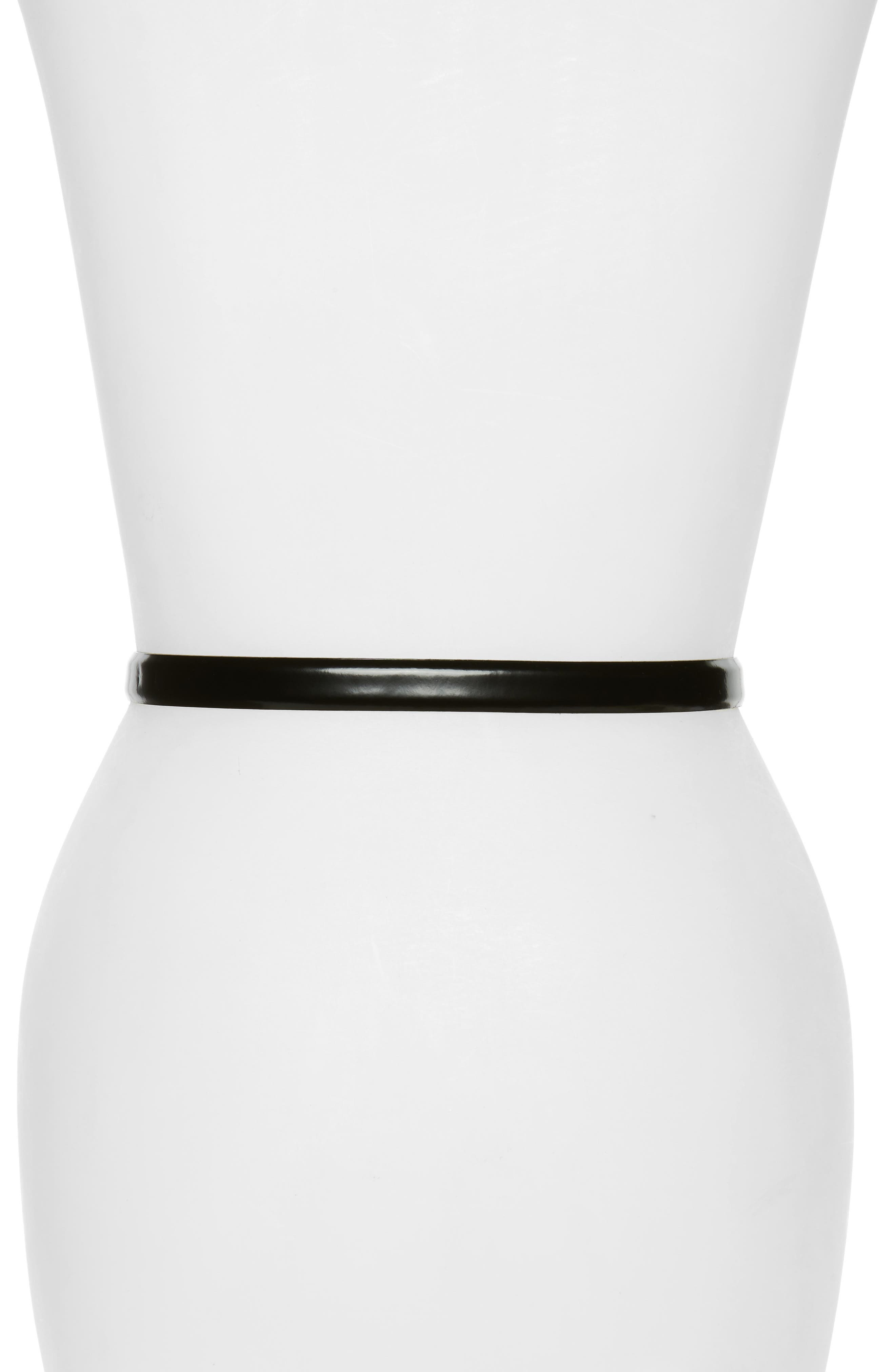 Logo Plate Skinny Leather Belt,                             Alternate thumbnail 15, color,