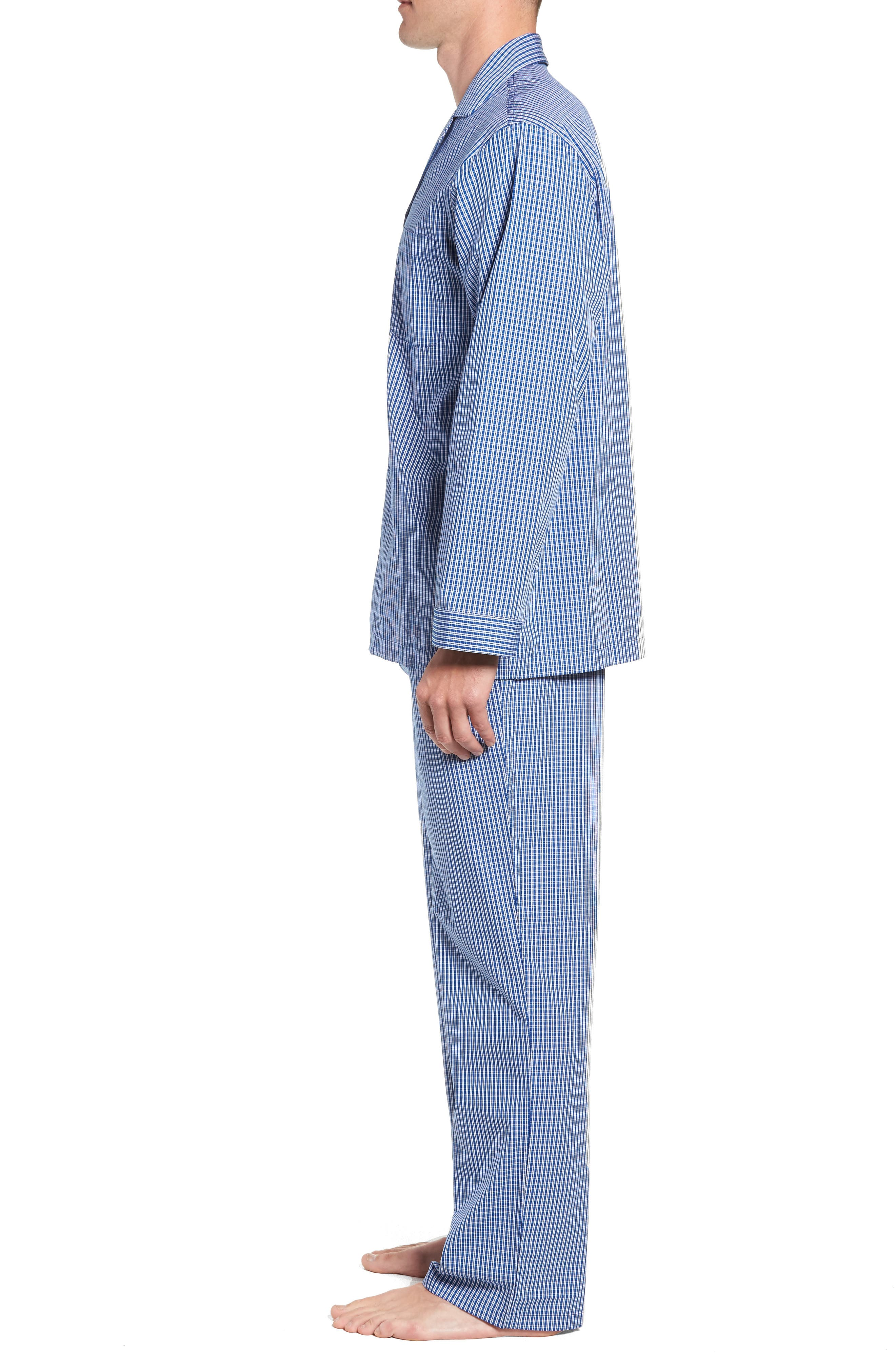 Poplin Pajama Set,                             Alternate thumbnail 3, color,                             BLUE DEEP MICRO CHECK