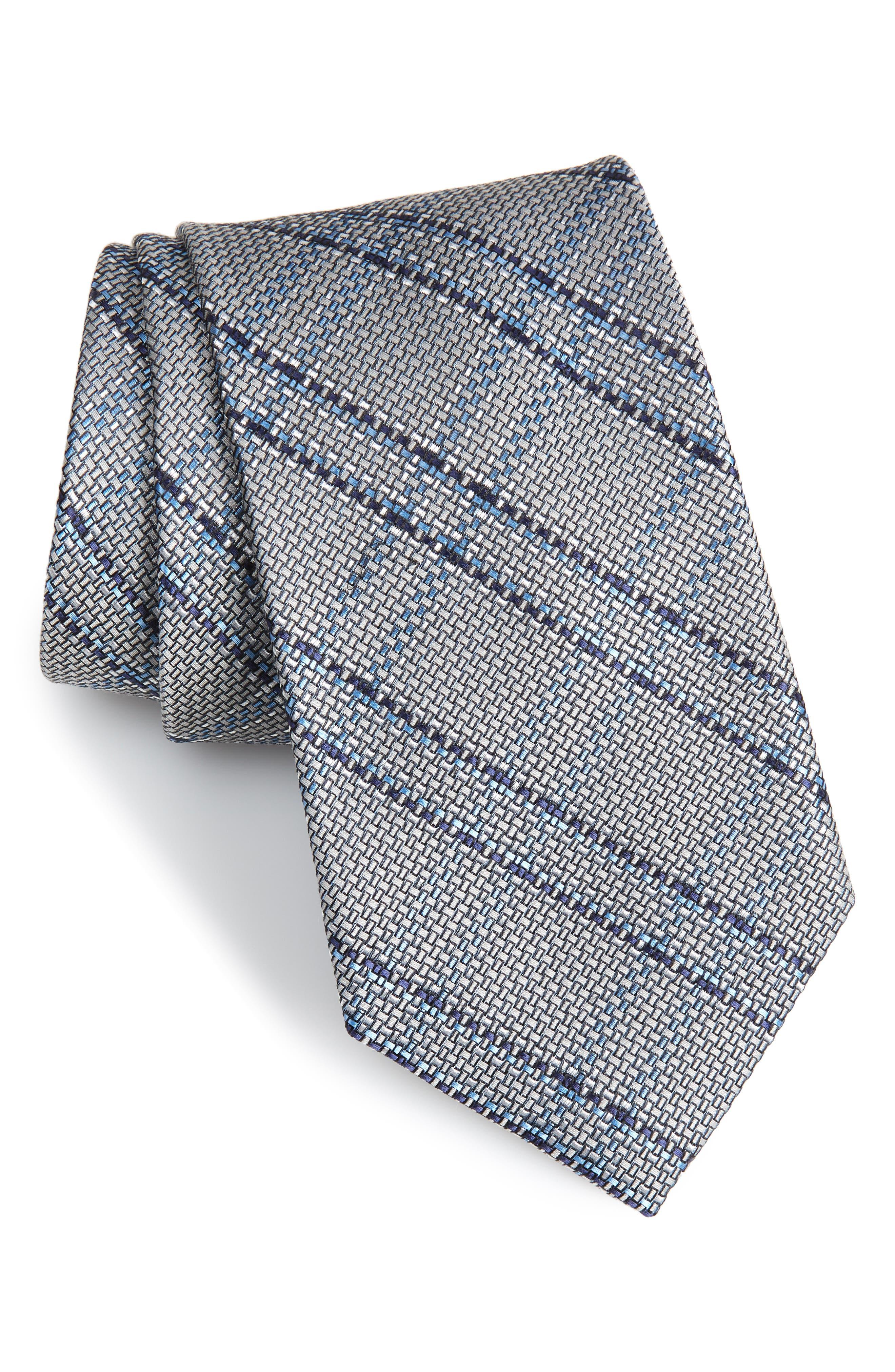 Tasker Plaid Silk & Cotton Tie,                             Main thumbnail 1, color,                             040