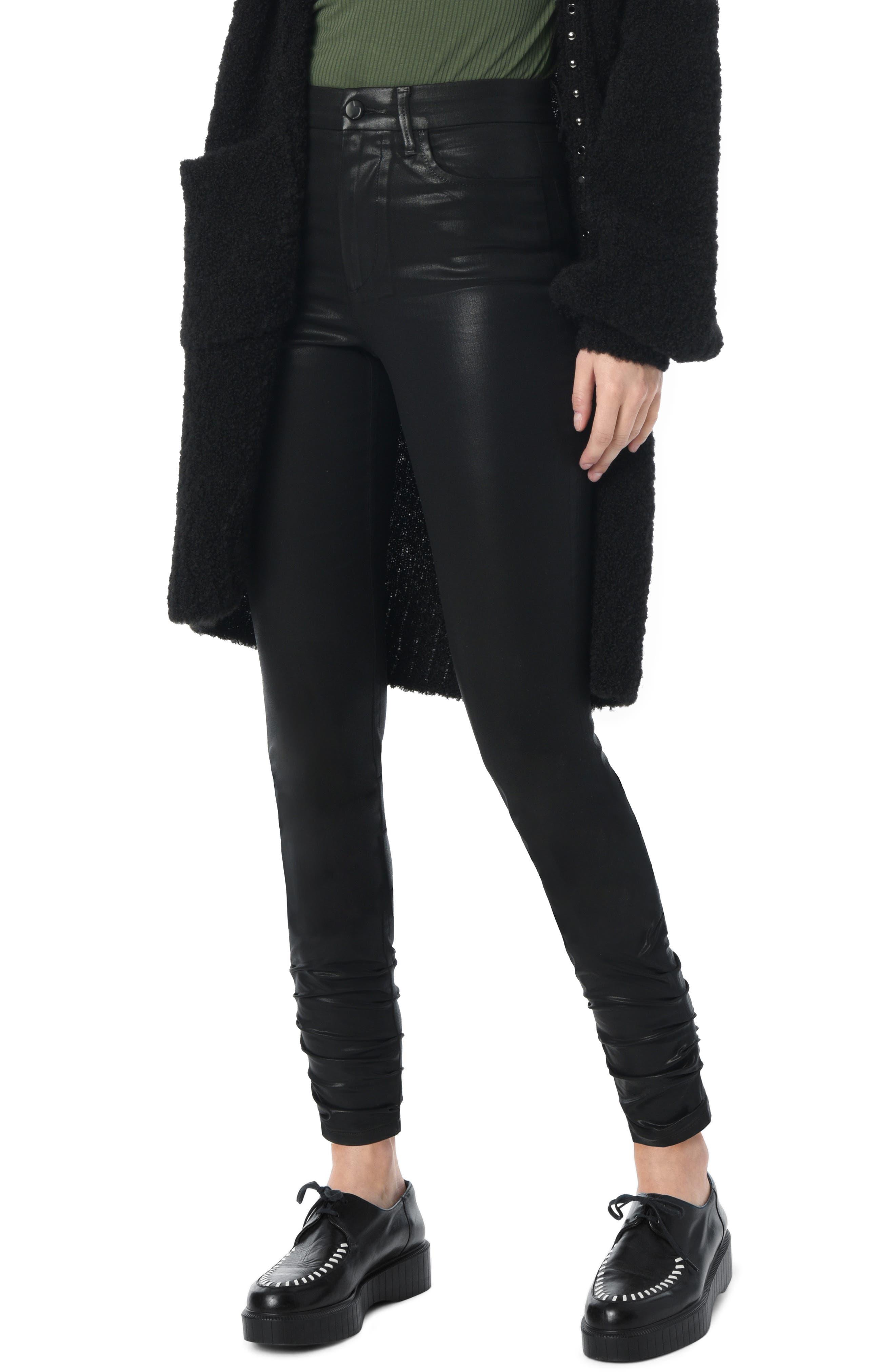Charlie Coated Stacked Hem Ankle Skinny Jeans,                         Main,                         color, BLACK
