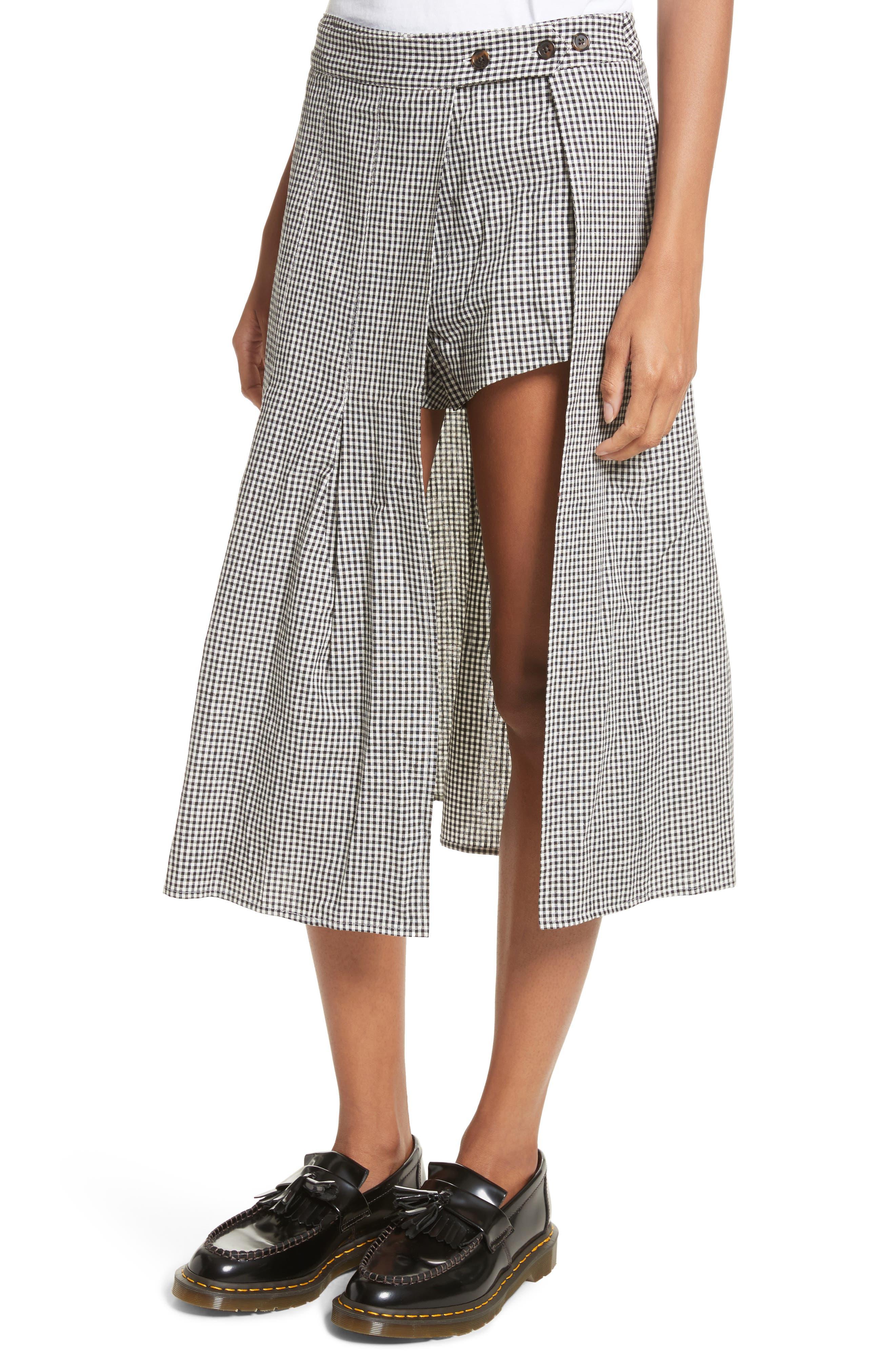 Uniform Gingham Linen & Cotton Skirt,                             Alternate thumbnail 4, color,                             004