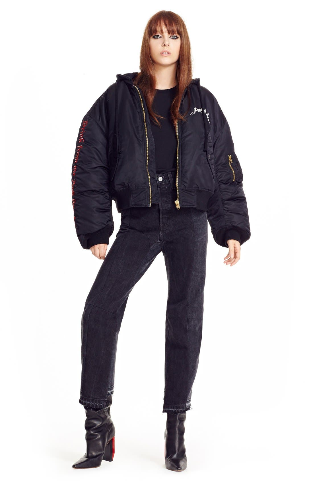 Embroidered Bomber Jacket,                             Alternate thumbnail 6, color,                             001