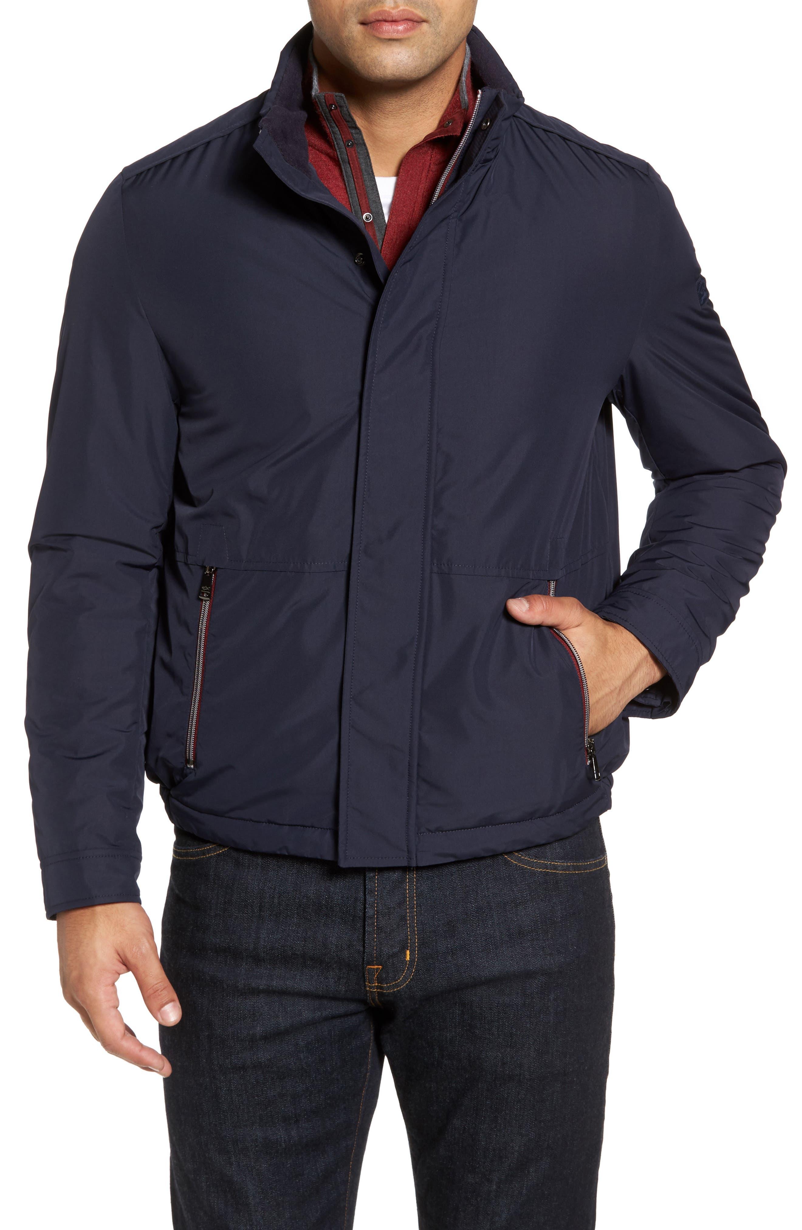 Paul&Shark Fleece Lined Hooded Jacket,                             Alternate thumbnail 4, color,                             400