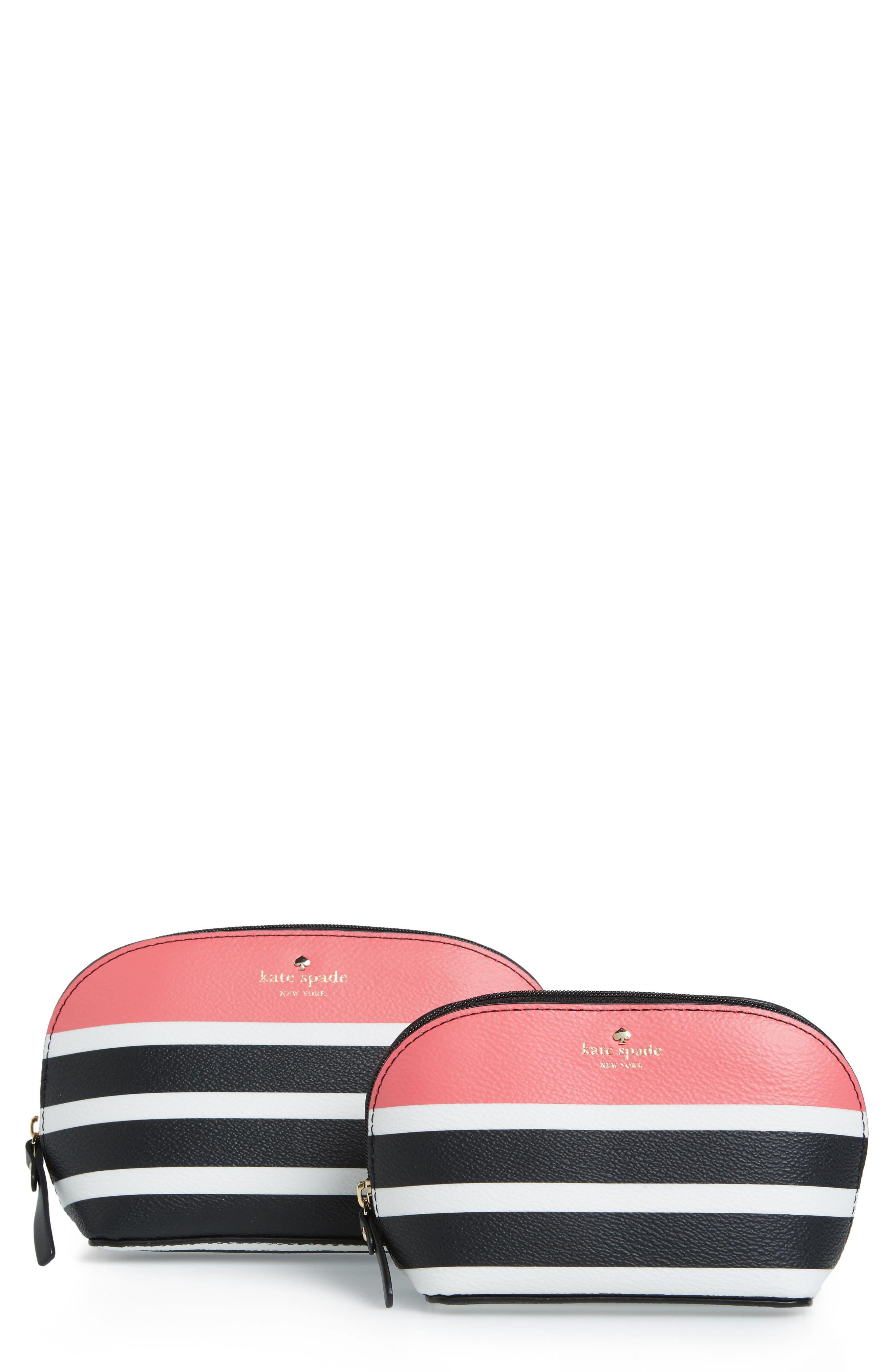 hyde lane stripe abalene set of 2 faux leather pouches,                             Main thumbnail 1, color,                             001