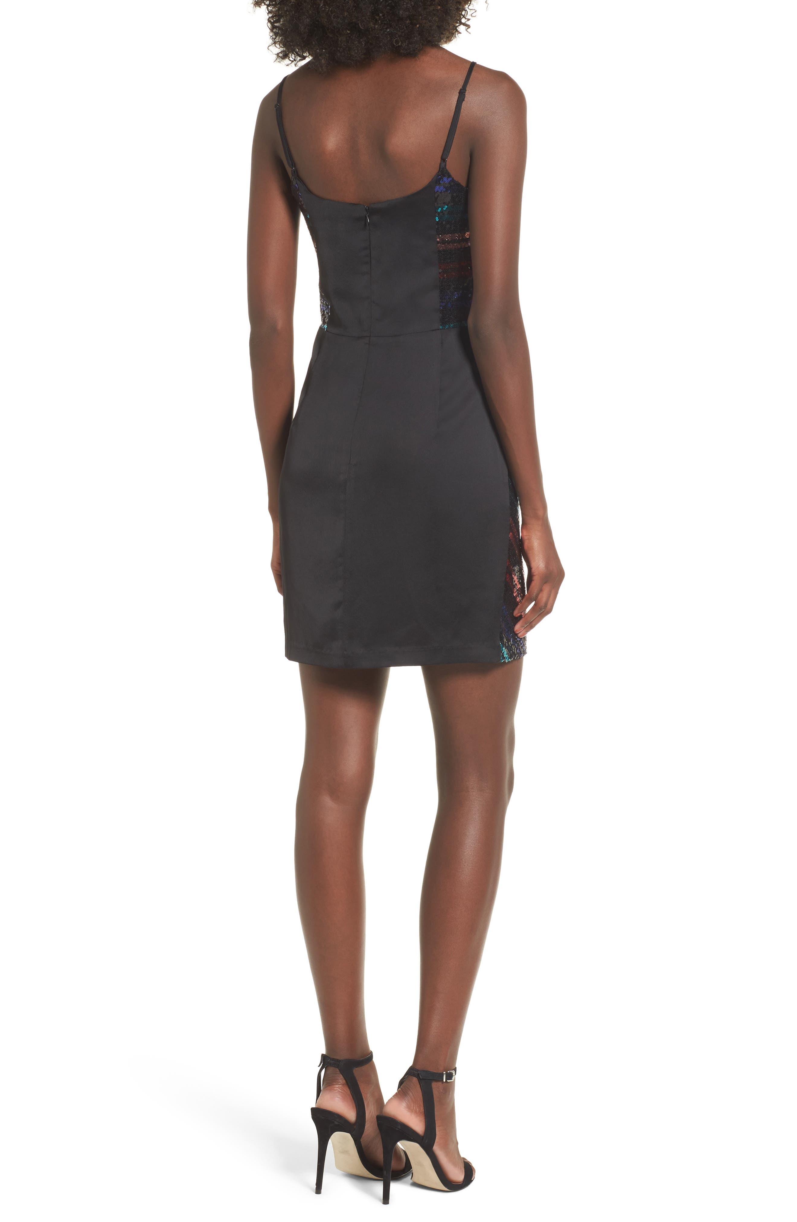 Randi Sequin Front Slip Dress,                             Alternate thumbnail 2, color,                             001