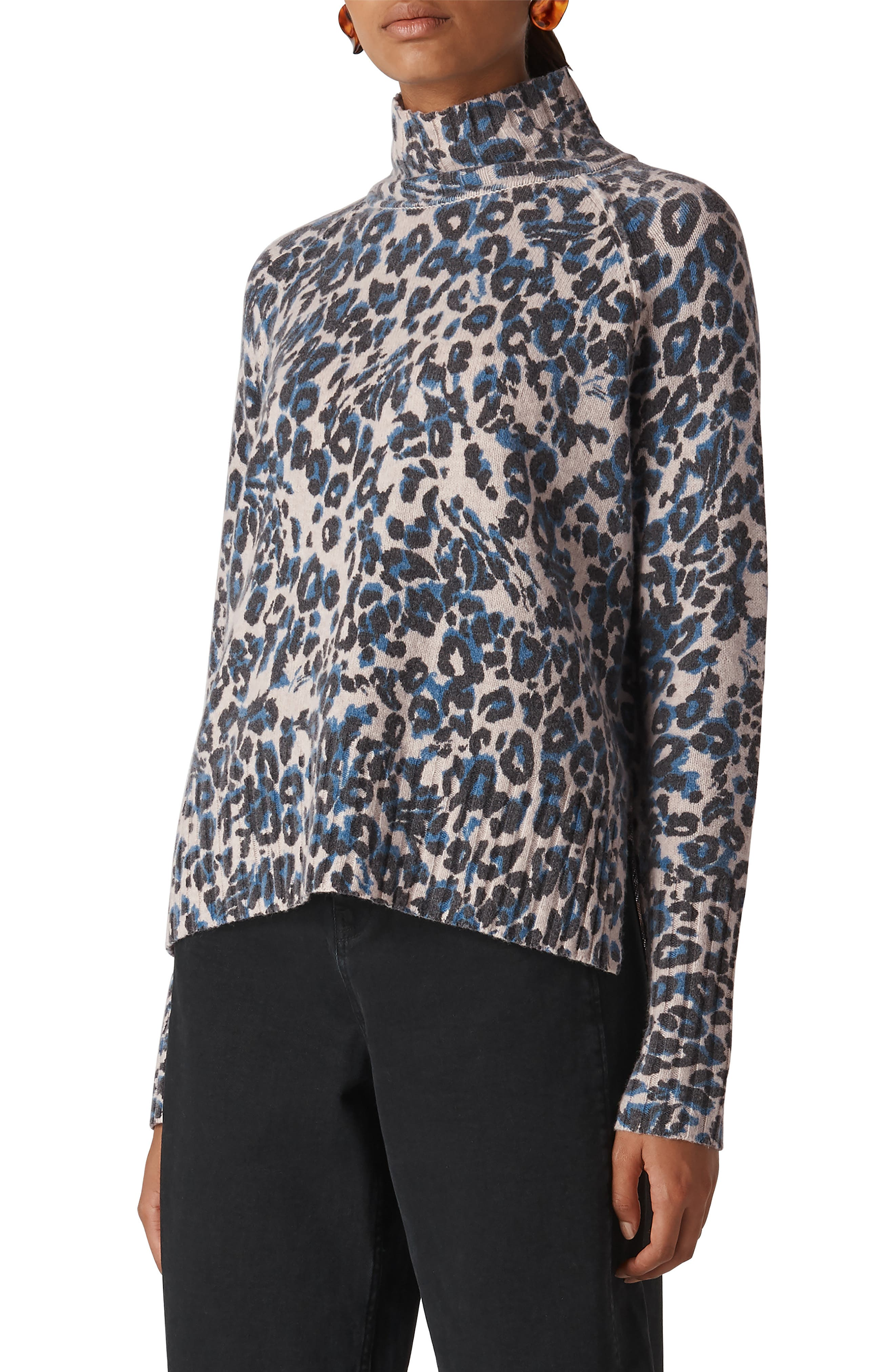 Jungle Cat Print Sweater in Blue/ Multi