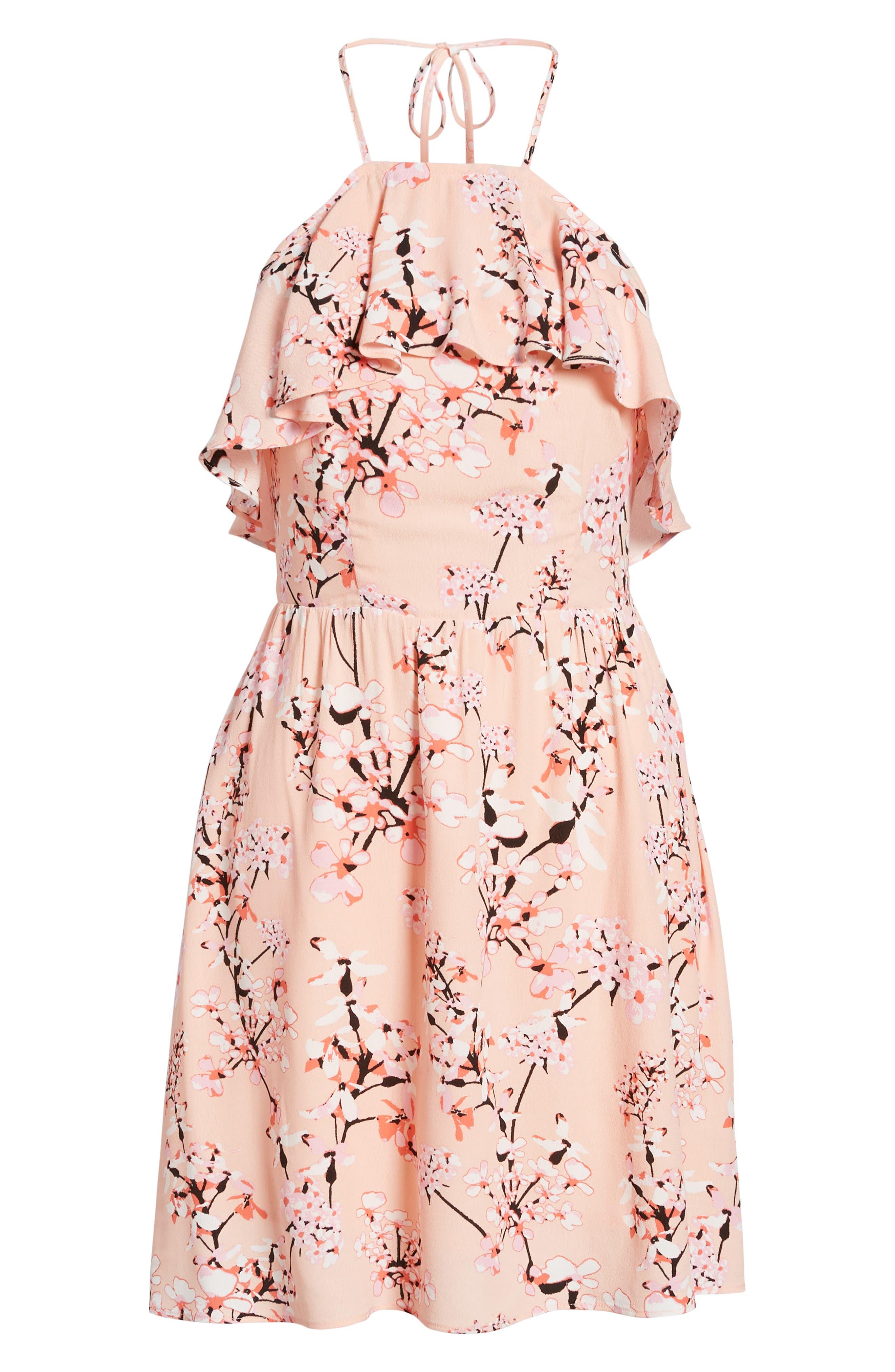 Corralyn Floral Print Halter Dress,                             Alternate thumbnail 6, color,                             PEACH PARFAIT
