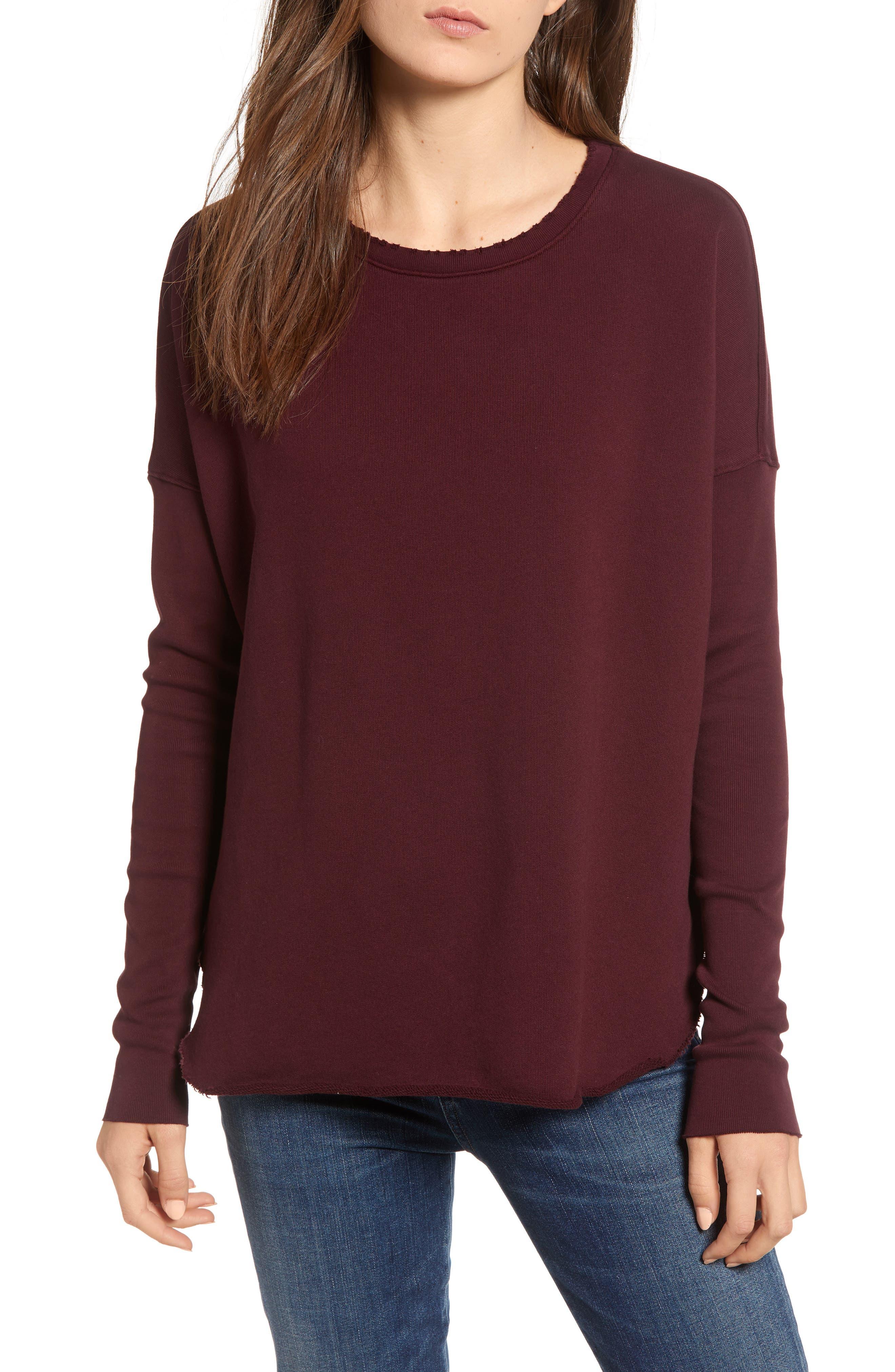 Long-Sleeve High-Low Cotton Fleece Sweatshirt in Vamp