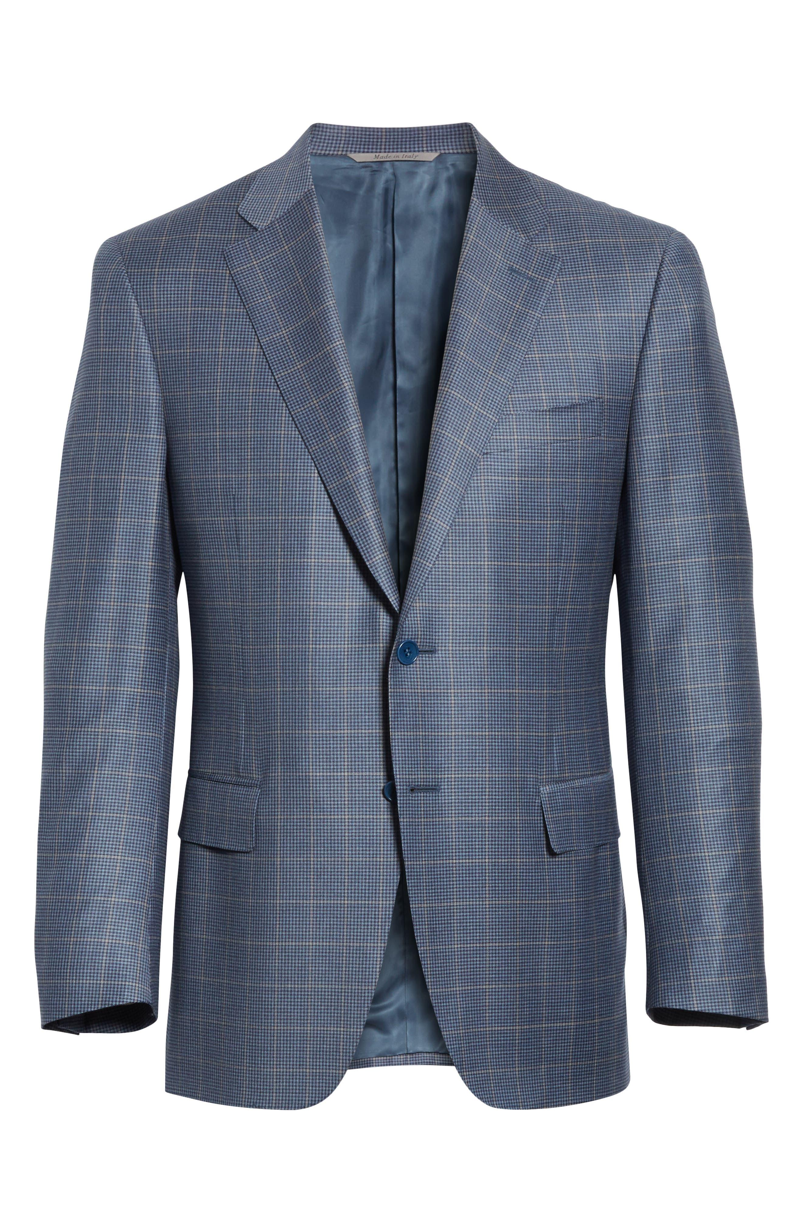 Classic Fit Windowpane Wool Sport Coat,                             Alternate thumbnail 5, color,                             400