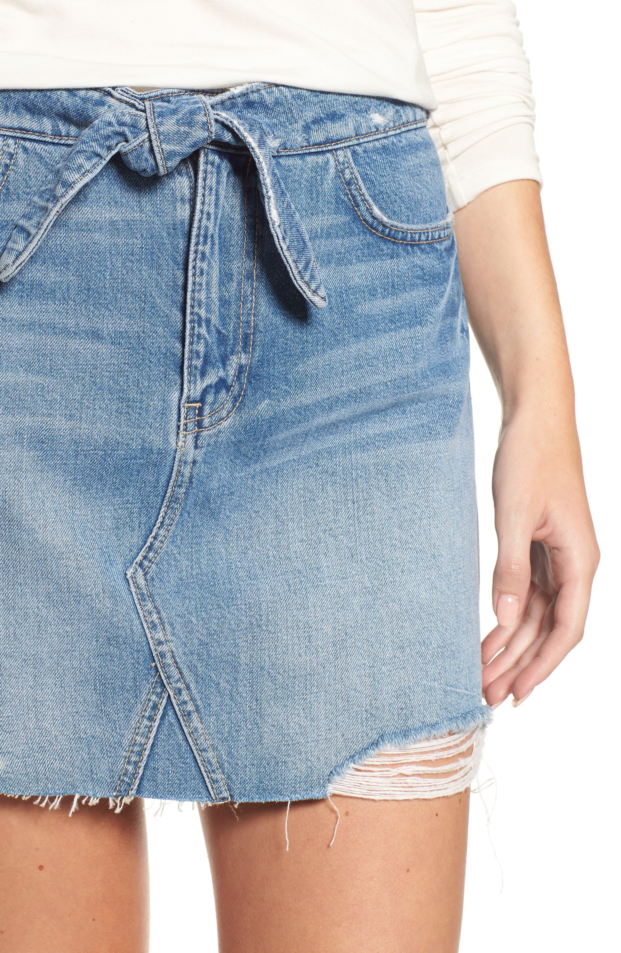Alethea High Waist Denim Skirt,                             Alternate thumbnail 4, color,
