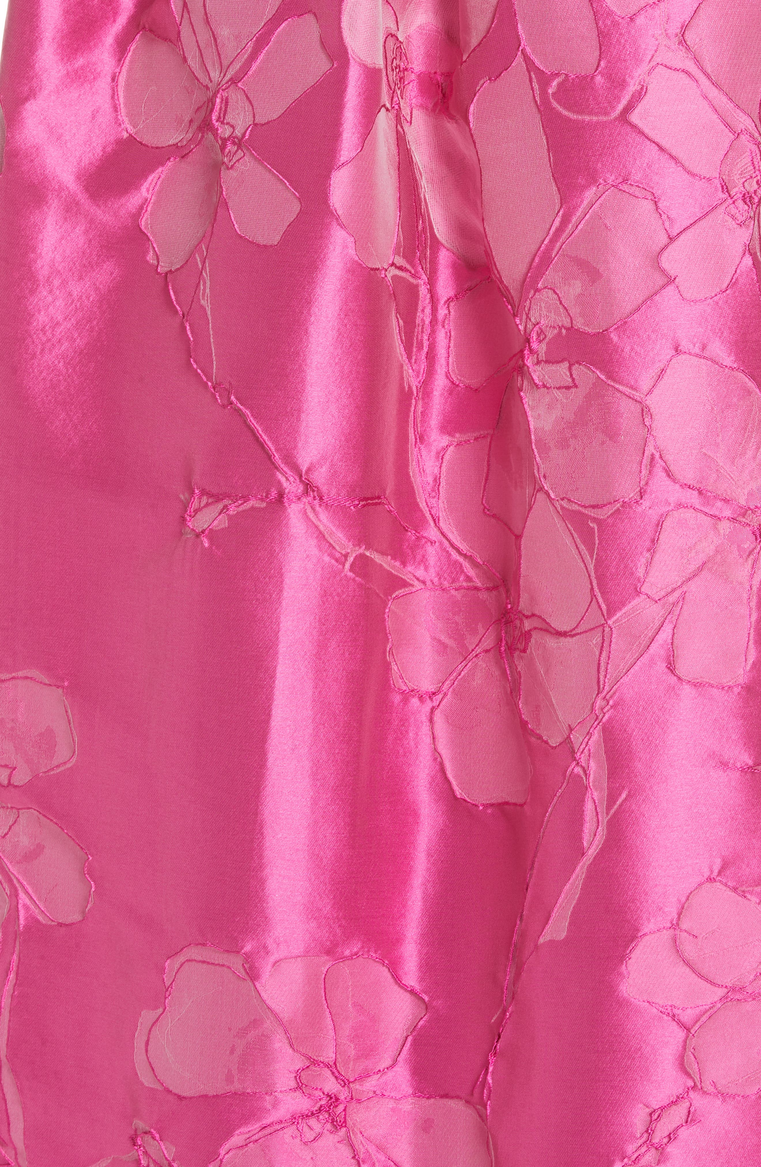 TALBOT RUNHOF,                             Floral V-Neck Evening Dress,                             Alternate thumbnail 6, color,                             FUCHSIA PINK